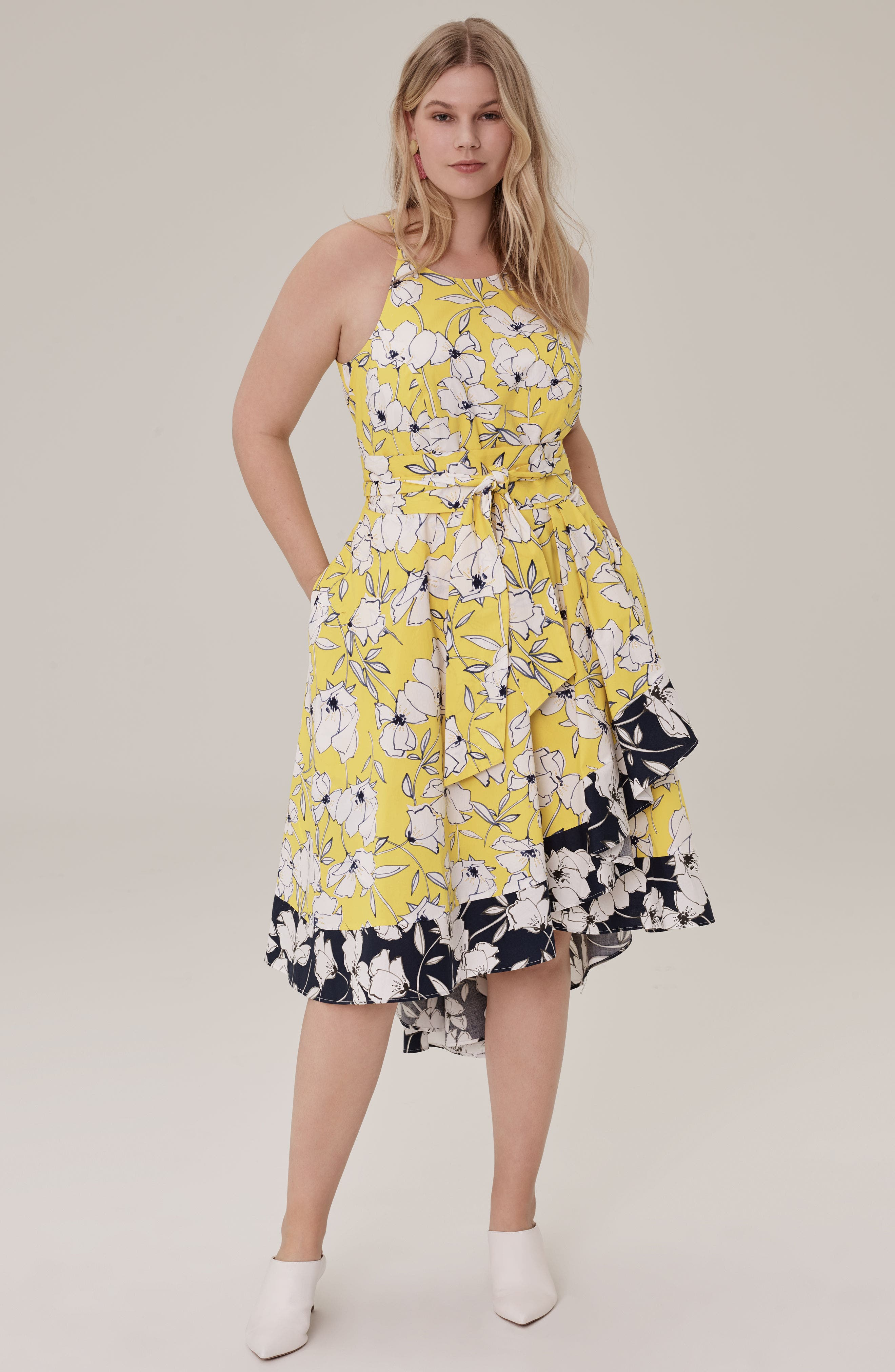 Floral Fit & Flare Dress,                             Alternate thumbnail 2, color,                             Yellow/ Navy/ White