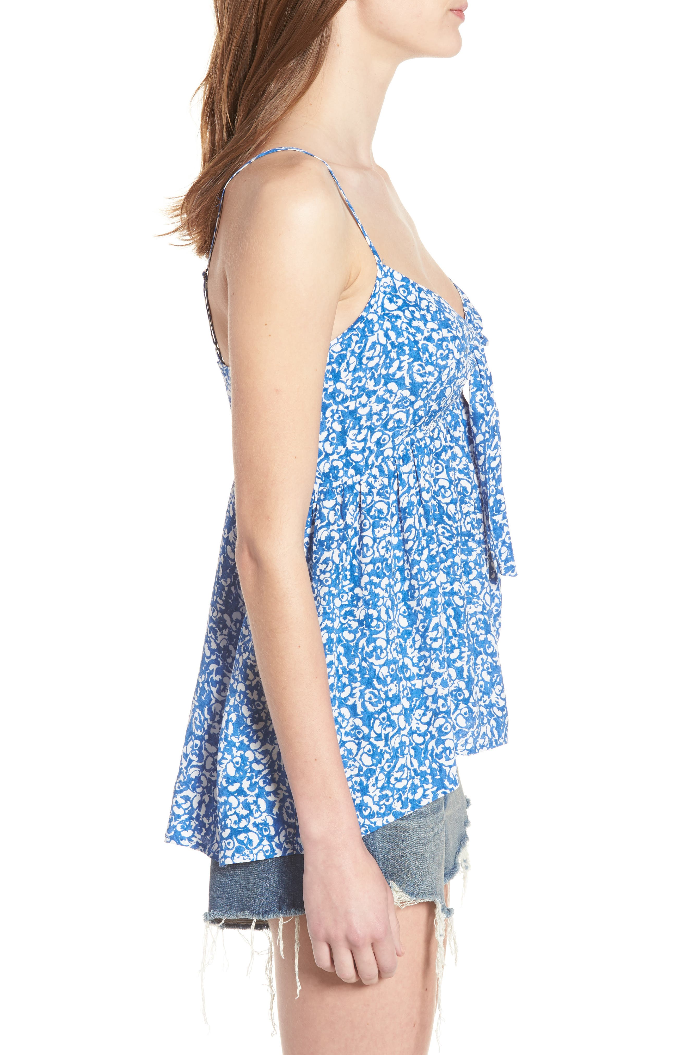Print Tie Front Camisole,                             Alternate thumbnail 3, color,                             Blue Boat Lost Ditsy