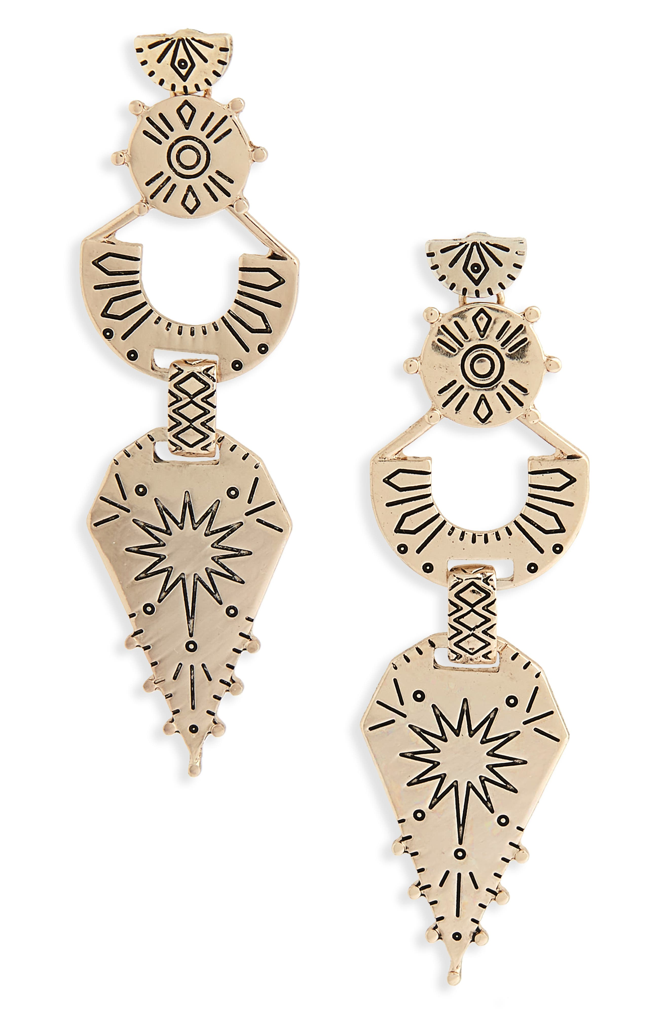 Engraved Drop Earrings,                         Main,                         color, Gold