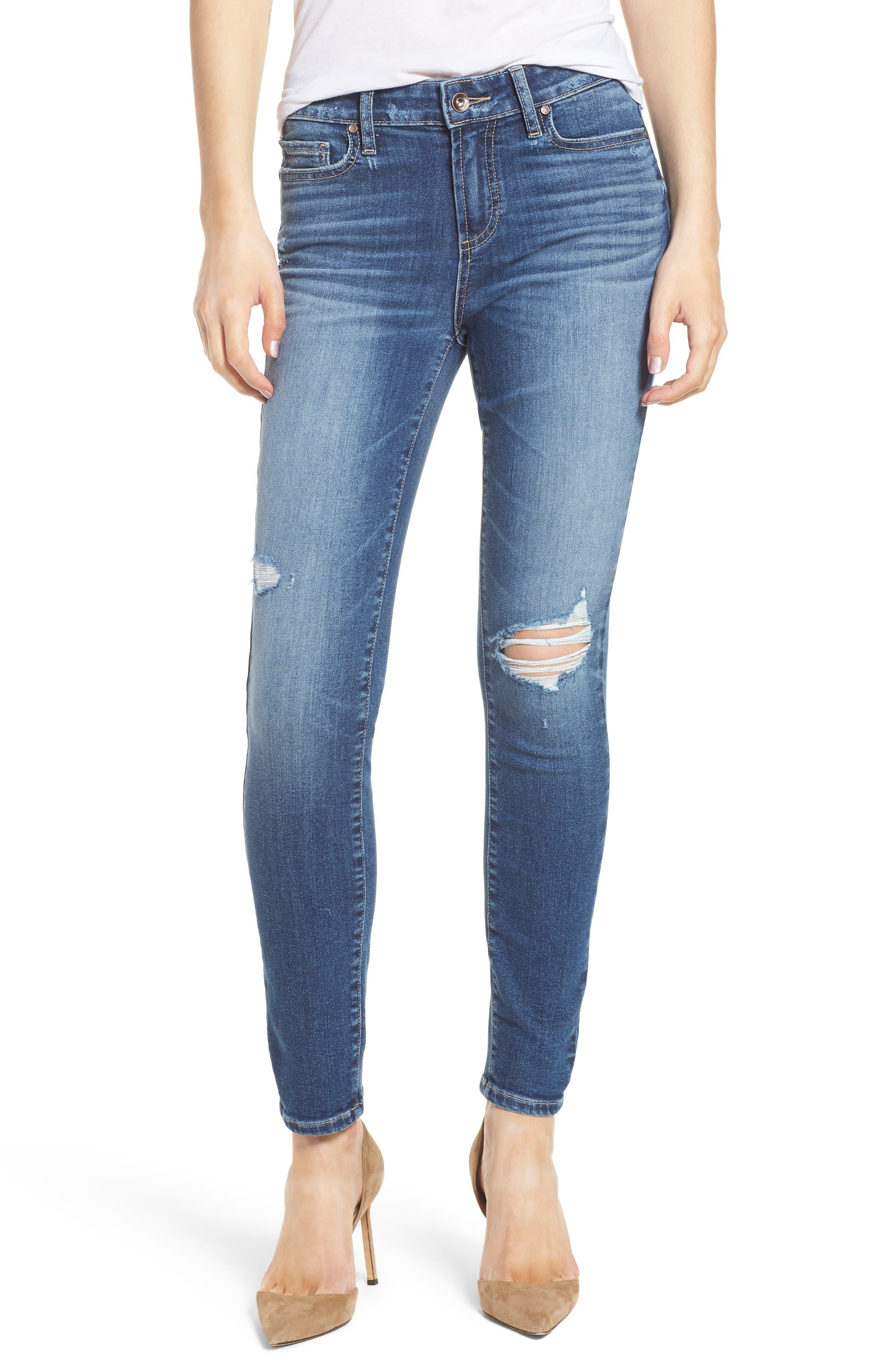 Transcend Vintage - Verdugo Ankle Skinny Jeans,                         Main,                         color, Pico Destructed