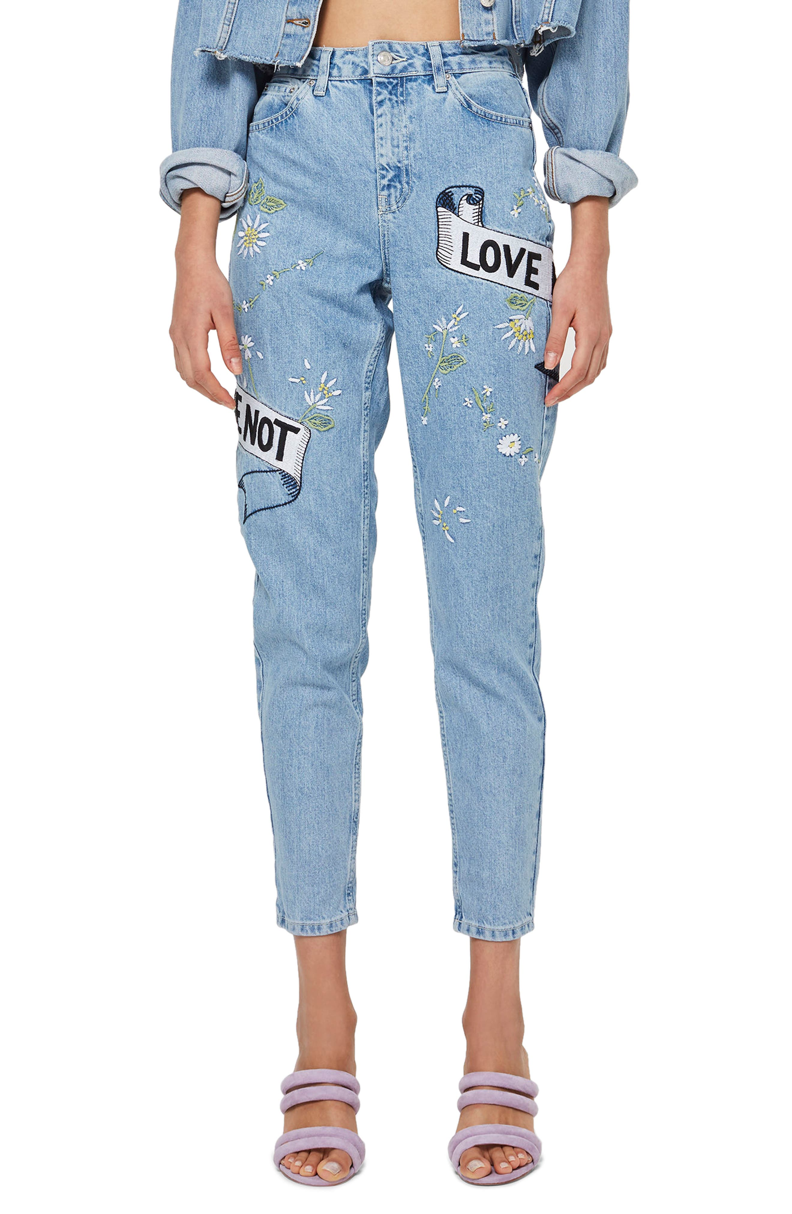Love Me Bleach Mom Jeans,                             Main thumbnail 1, color,                             Light Blue