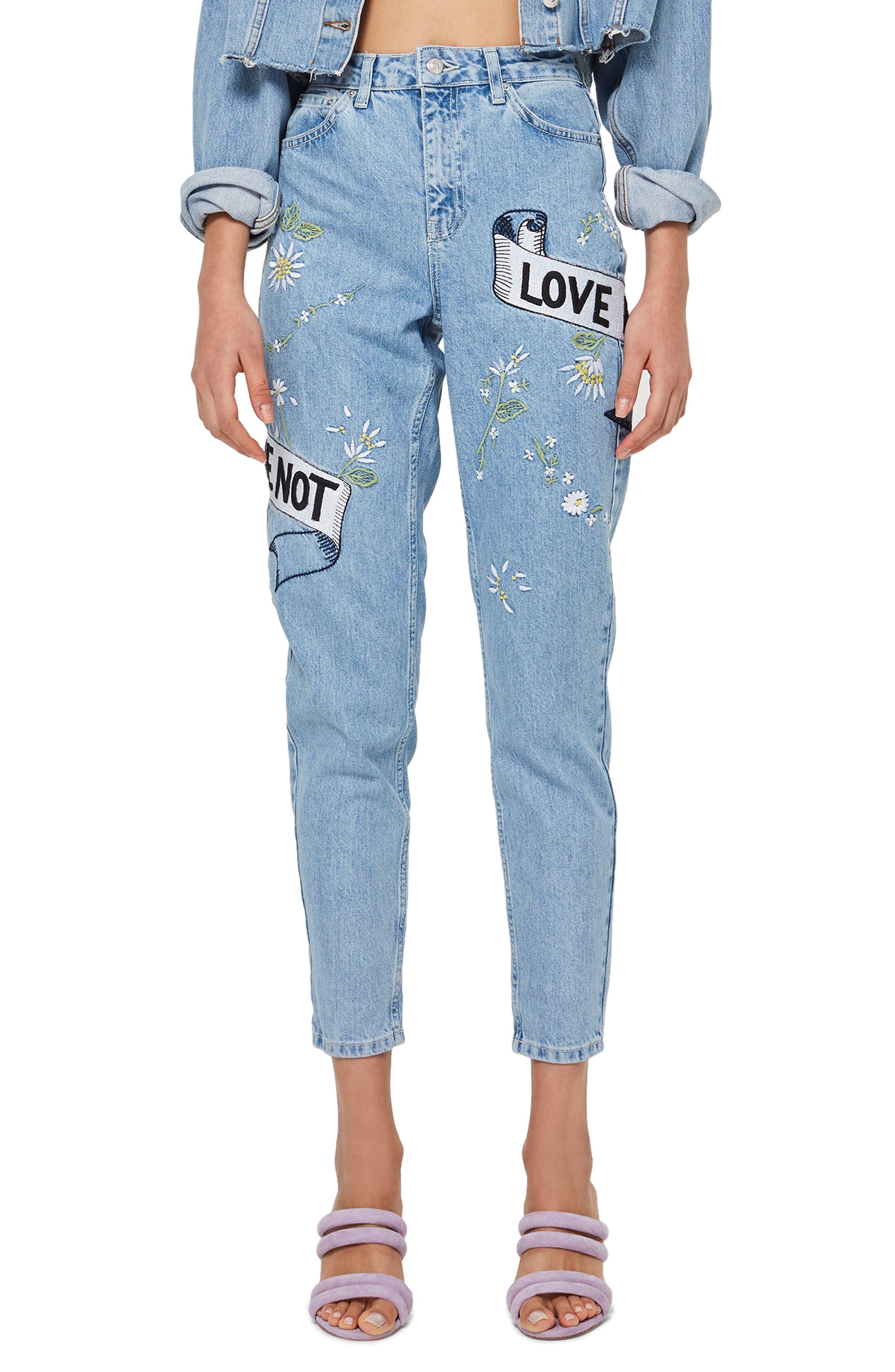 Love Me Bleach Mom Jeans,                         Main,                         color, Light Blue