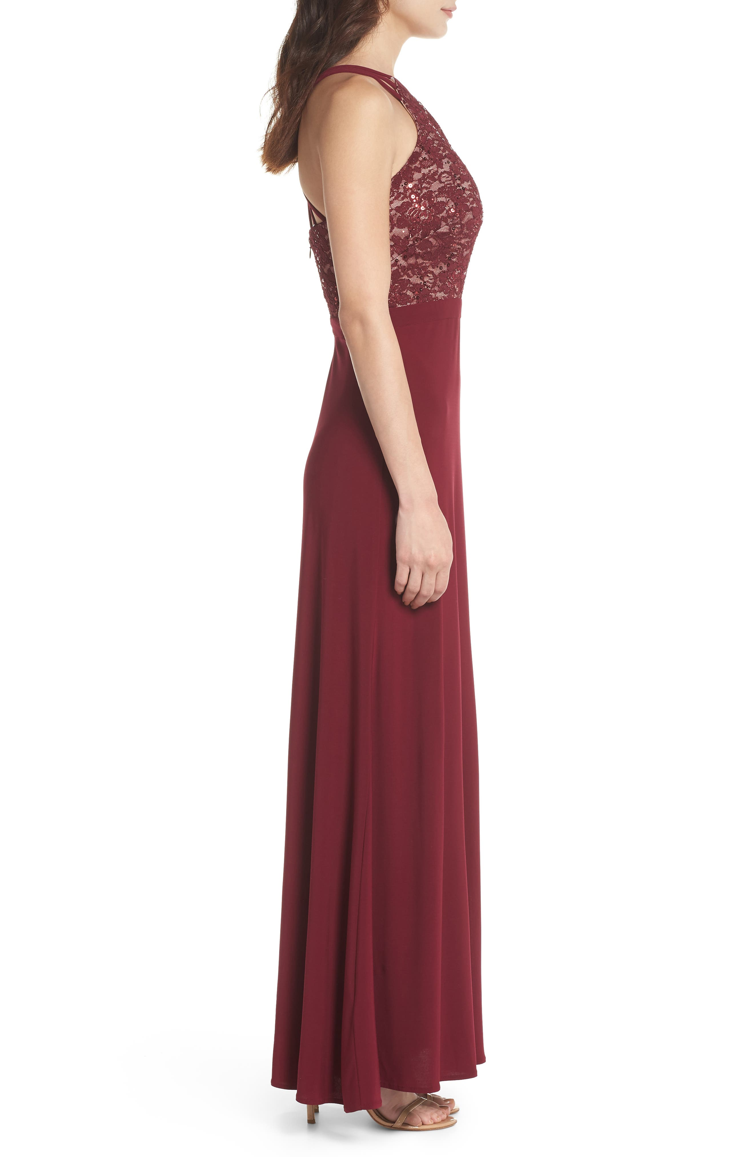 Embellished Lace Gown,                             Alternate thumbnail 3, color,                             Merlot/ Nude