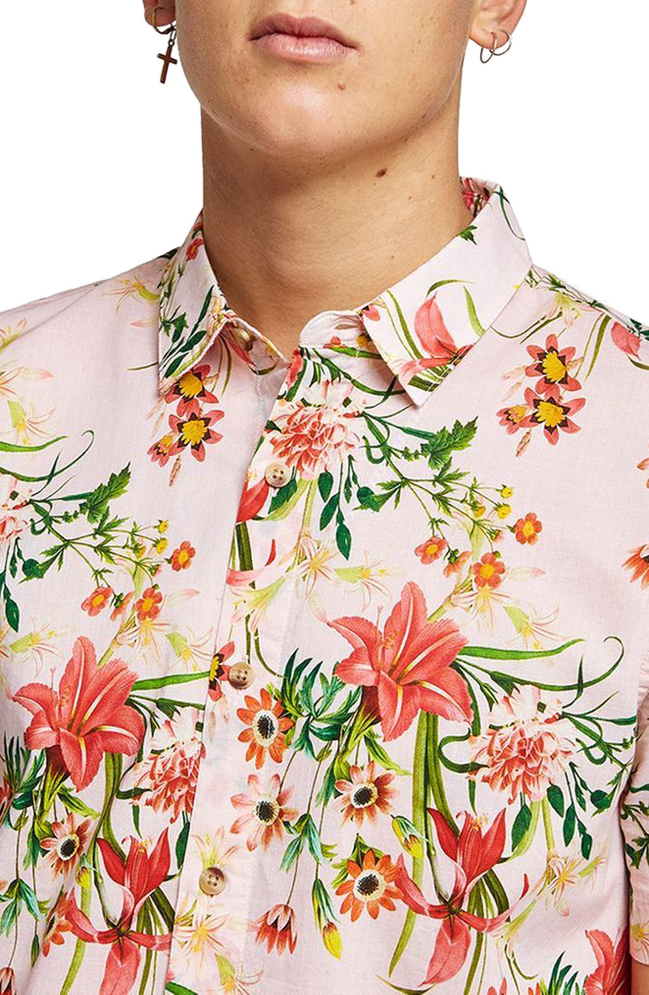 Classic Fit Floral Woven Shirt,                             Alternate thumbnail 2, color,                             Pink Multi