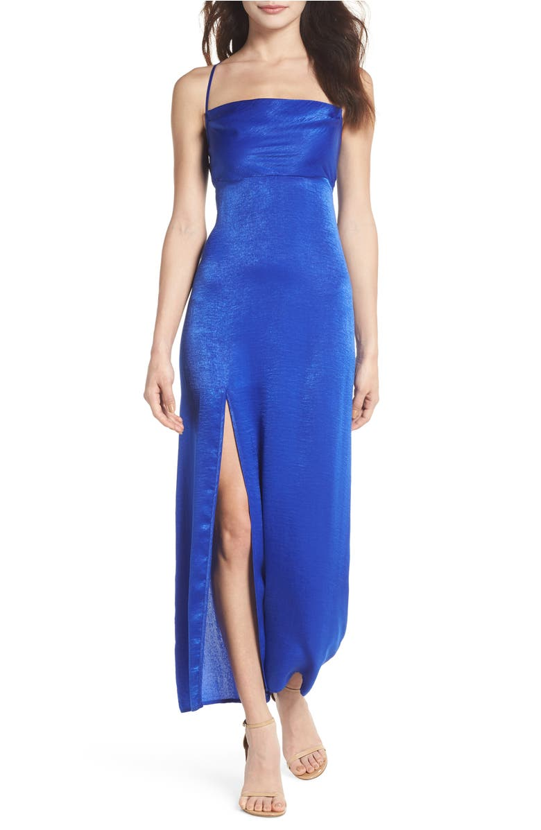 Show Me Your Mumu Winslet Gown In Cobalt Sheen