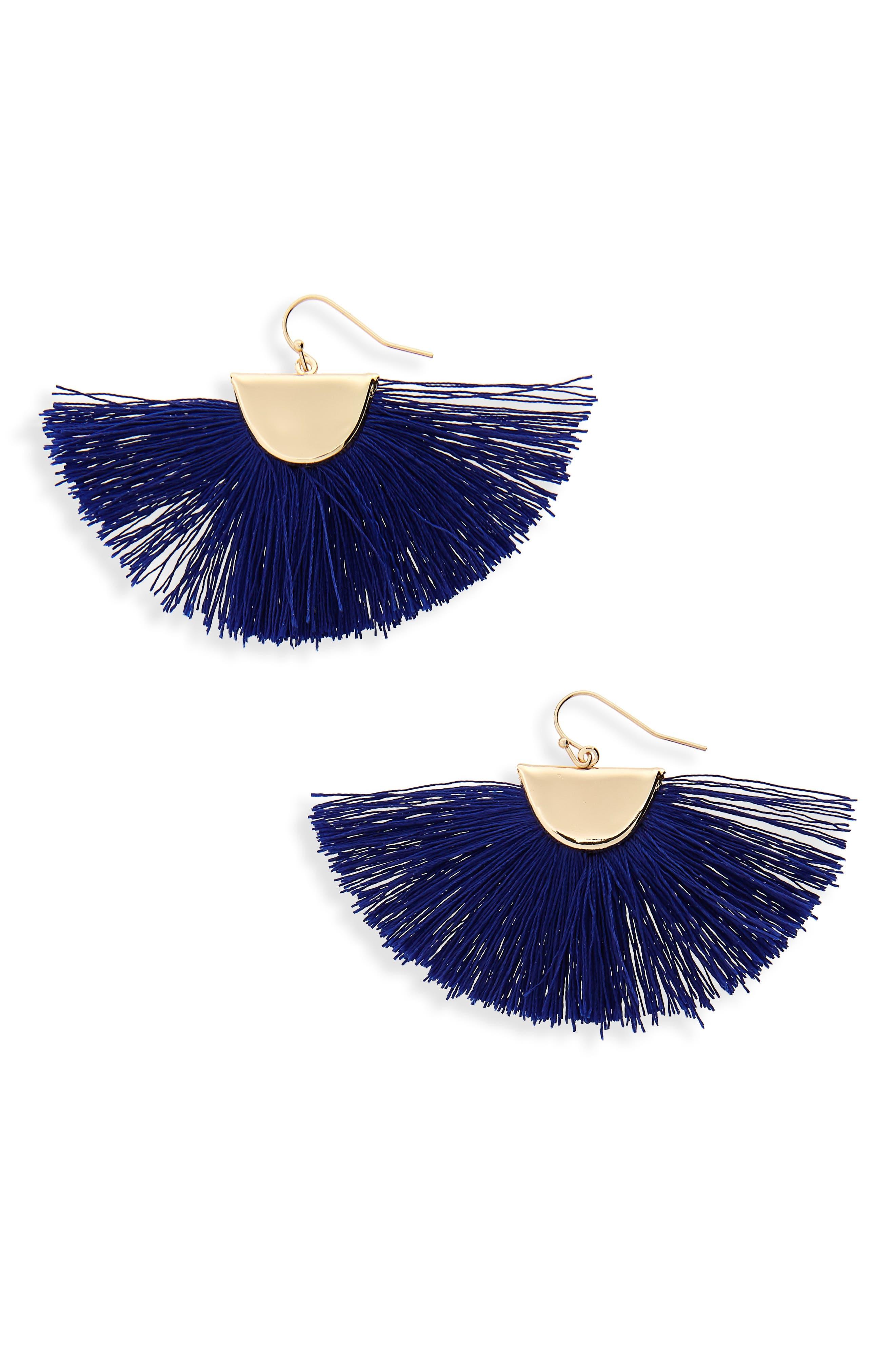 Fan Drop Earrings,                         Main,                         color, Blue