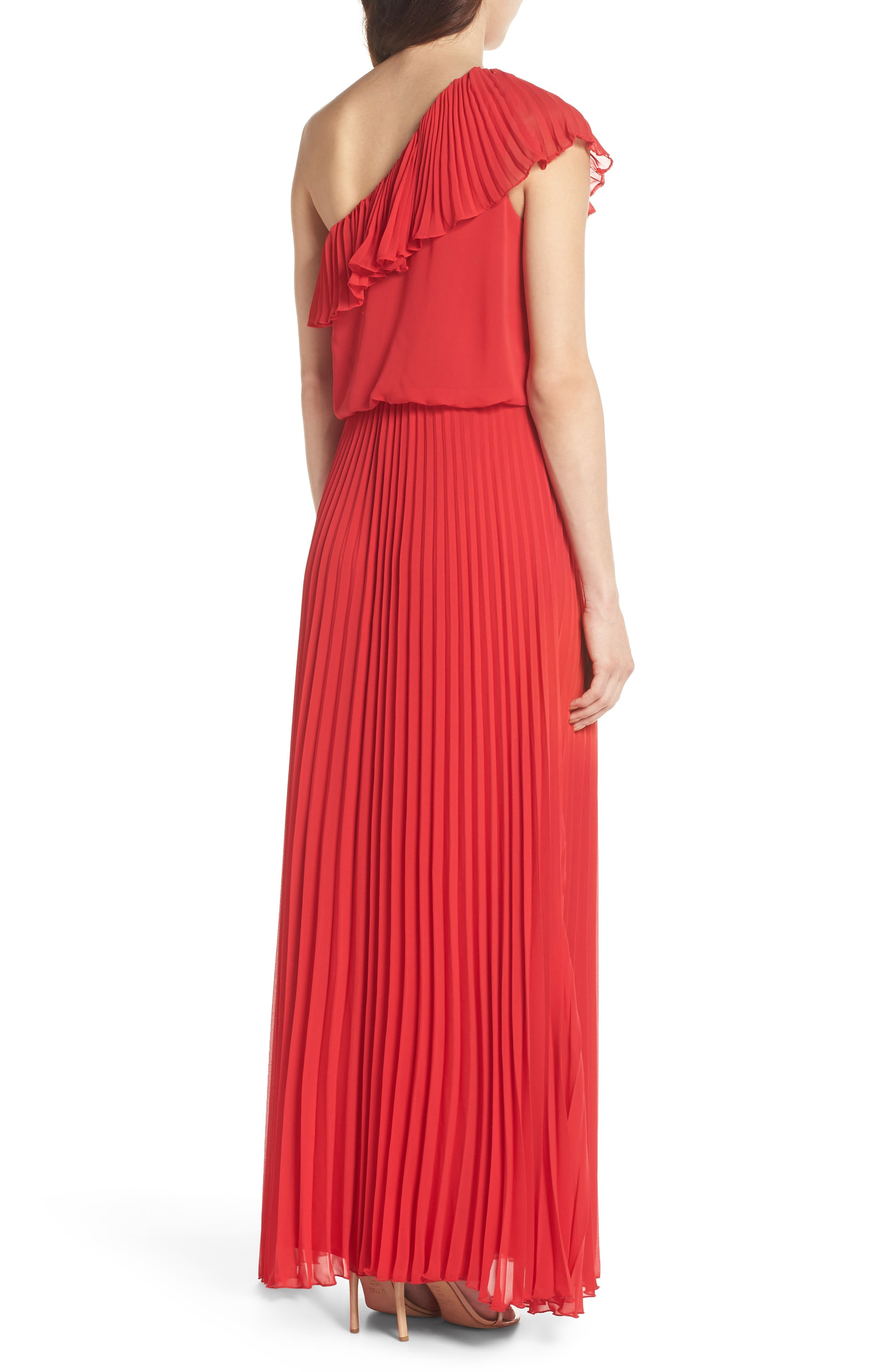 One-Shoulder Pleat Chiffon Gown,                             Alternate thumbnail 2, color,                             Red