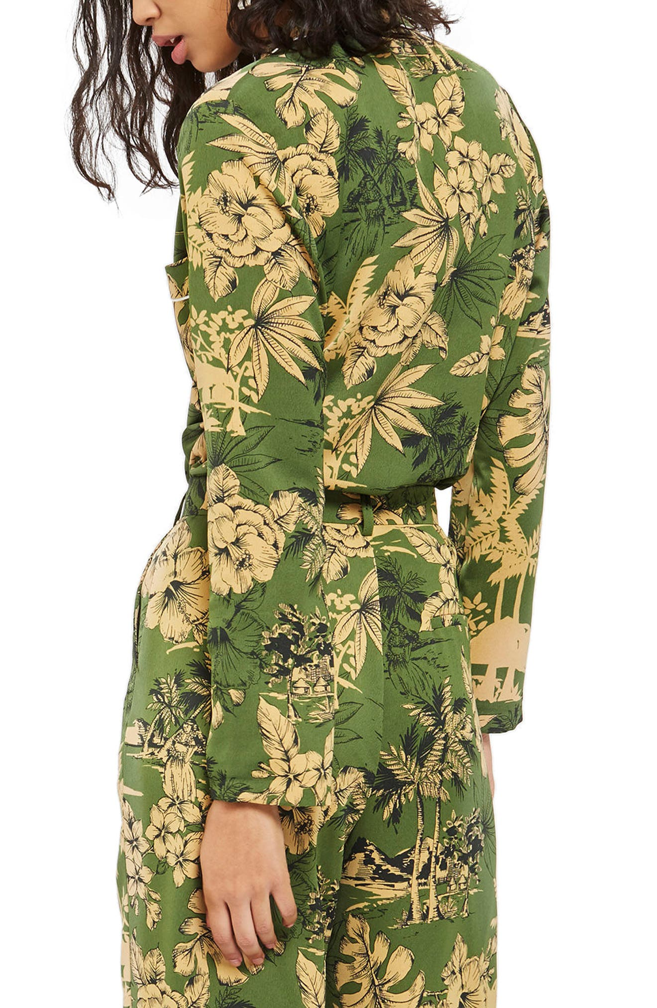 Tropical Pajama Jacket,                             Alternate thumbnail 3, color,                             Green Multi
