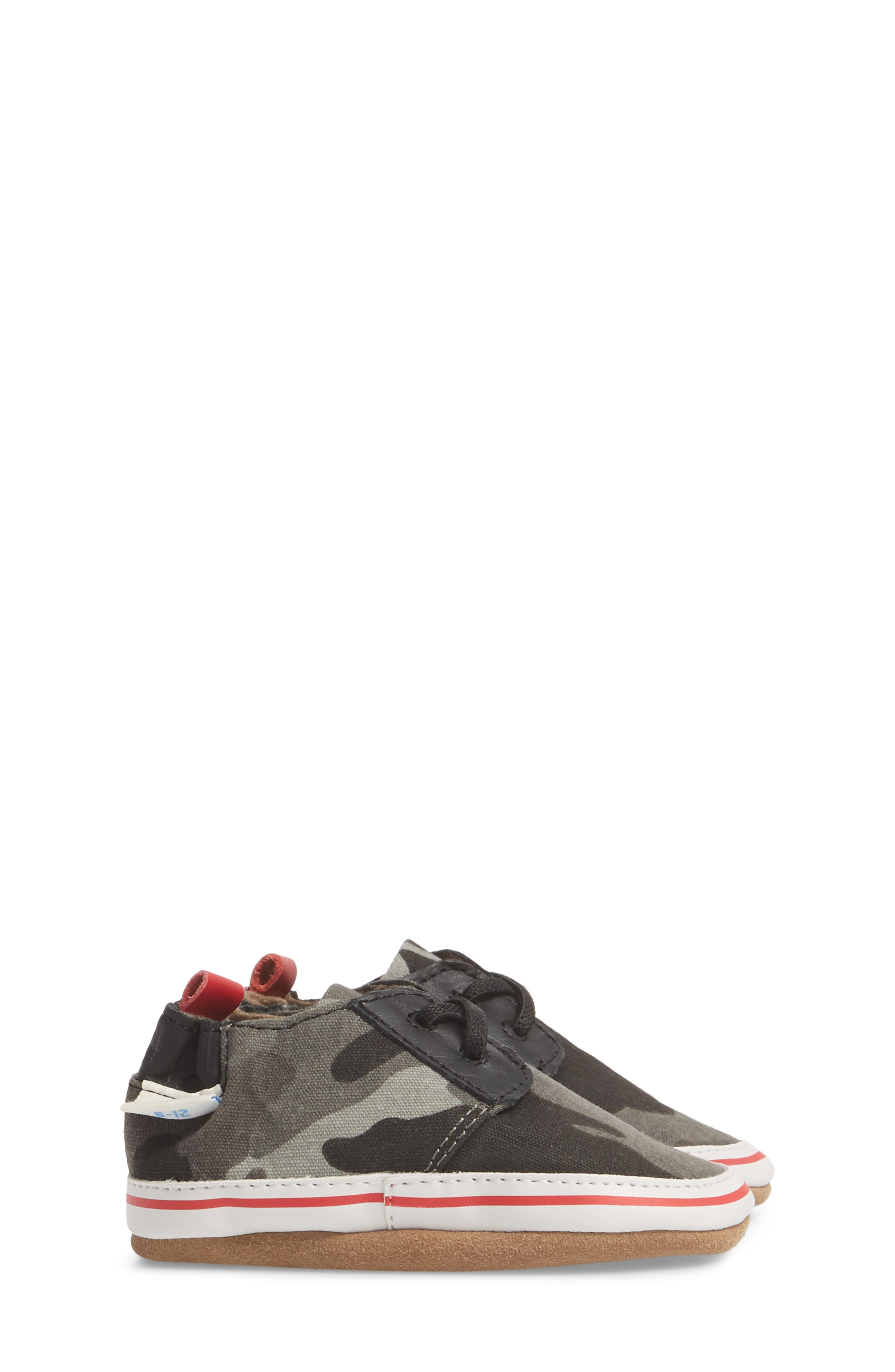Cool & Casual Camo Print Crib Shoe,                             Alternate thumbnail 3, color,                             Grey
