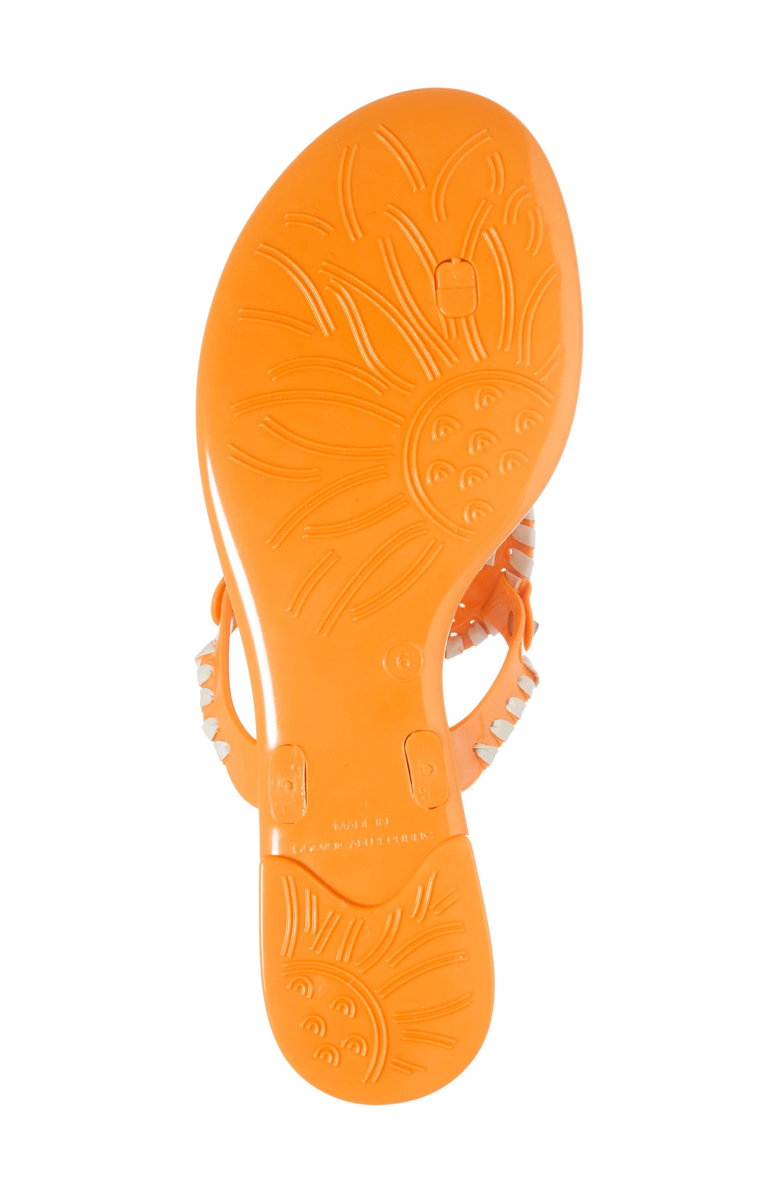 'Georgica' Jelly Flip Flop,                             Alternate thumbnail 6, color,                             Tangerine/ White Fabric