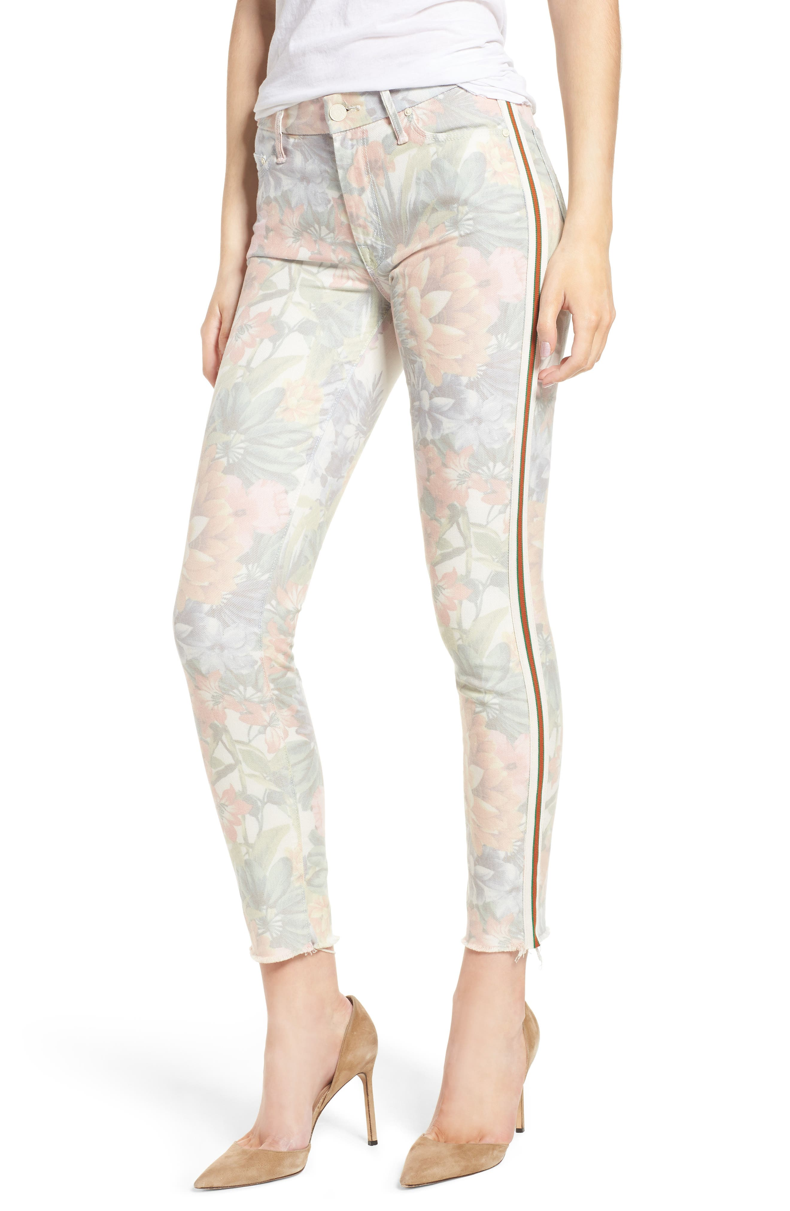 MOTHER The Looker Floral Frayed Ankle Jeans