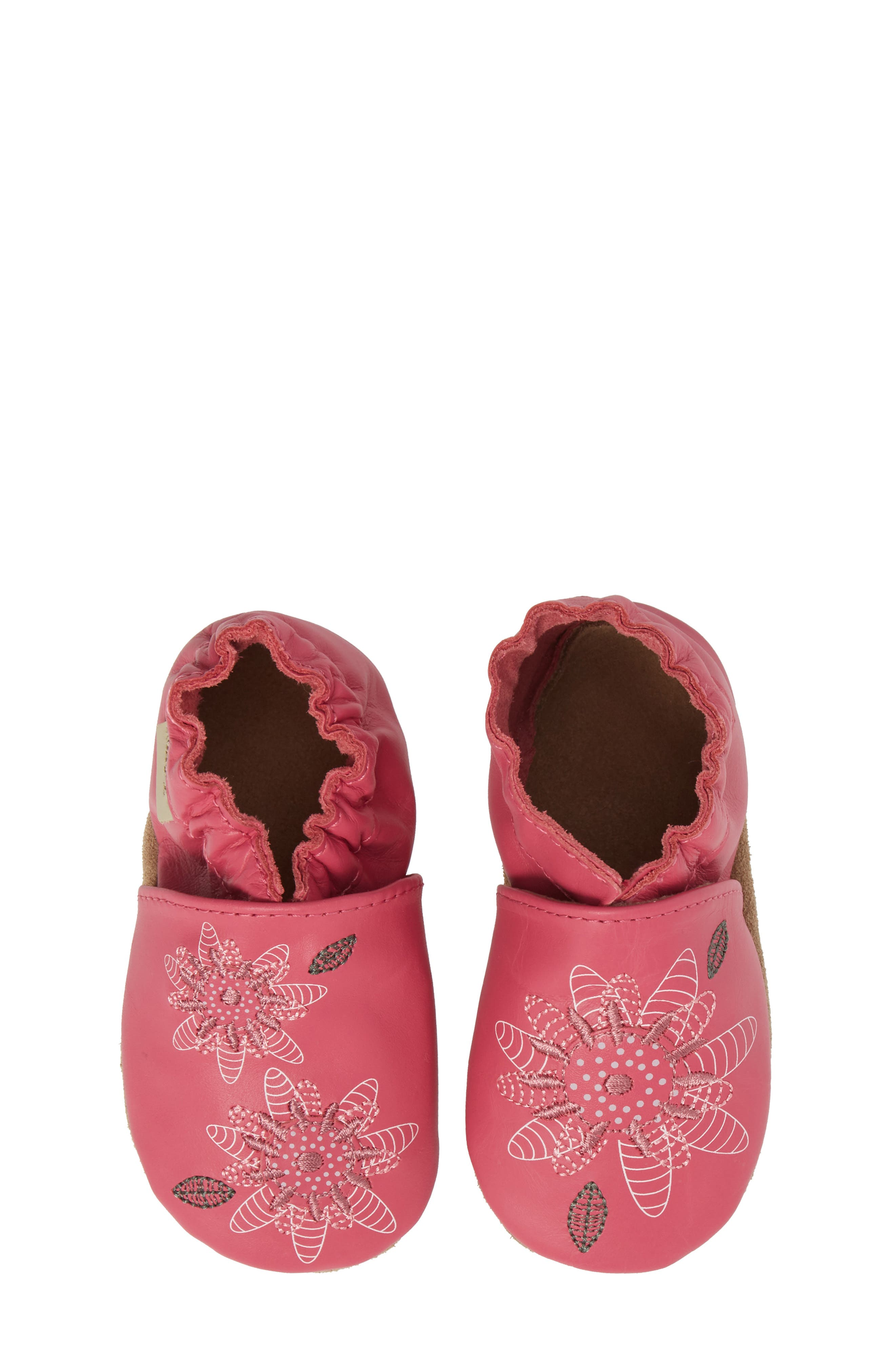 Fiona Flower Moccasin Crib Shoe,                             Main thumbnail 1, color,                             Hot Pink