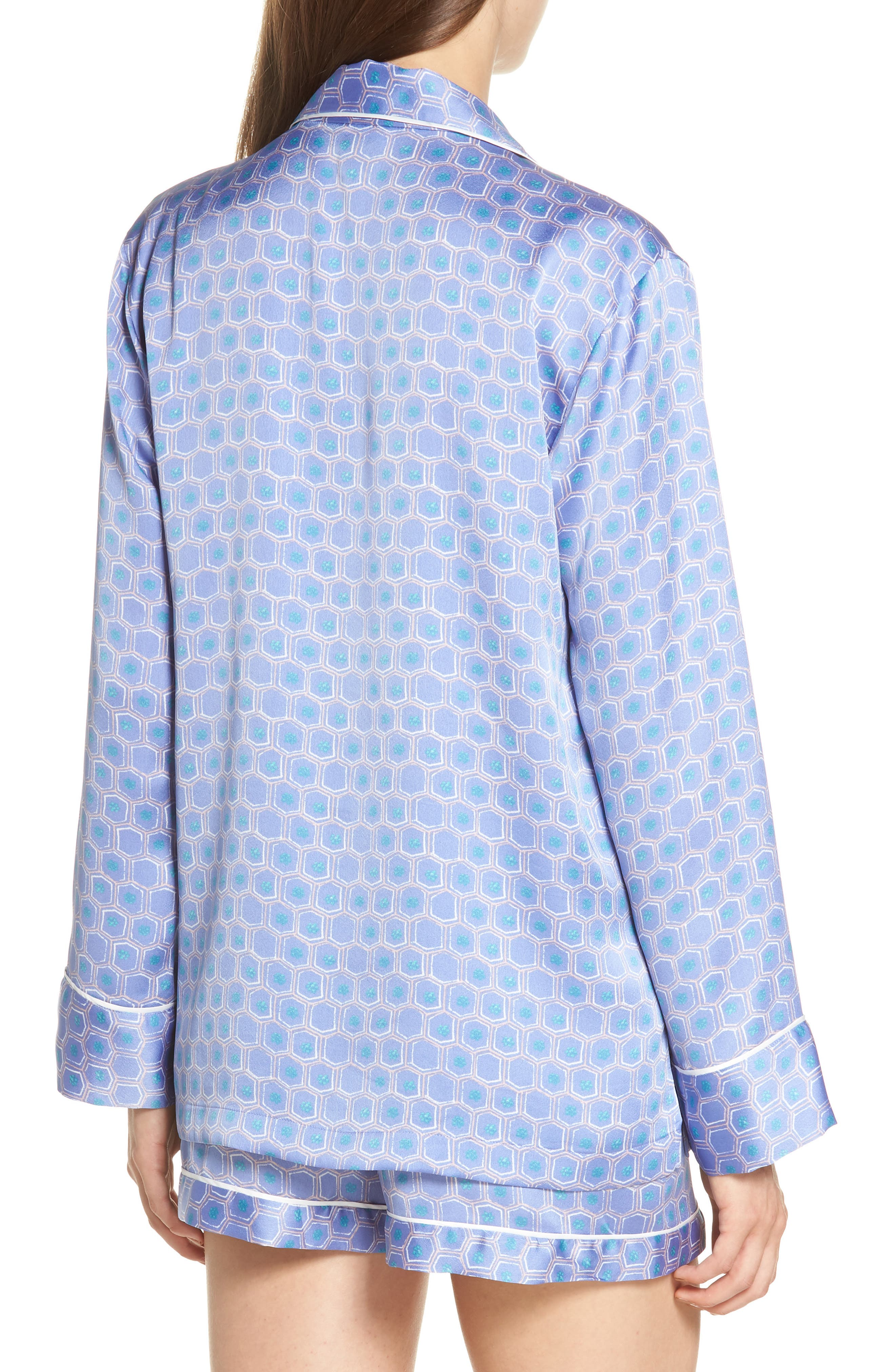 Honeycomb Short Pajamas,                             Alternate thumbnail 2, color,                             Wedgewood