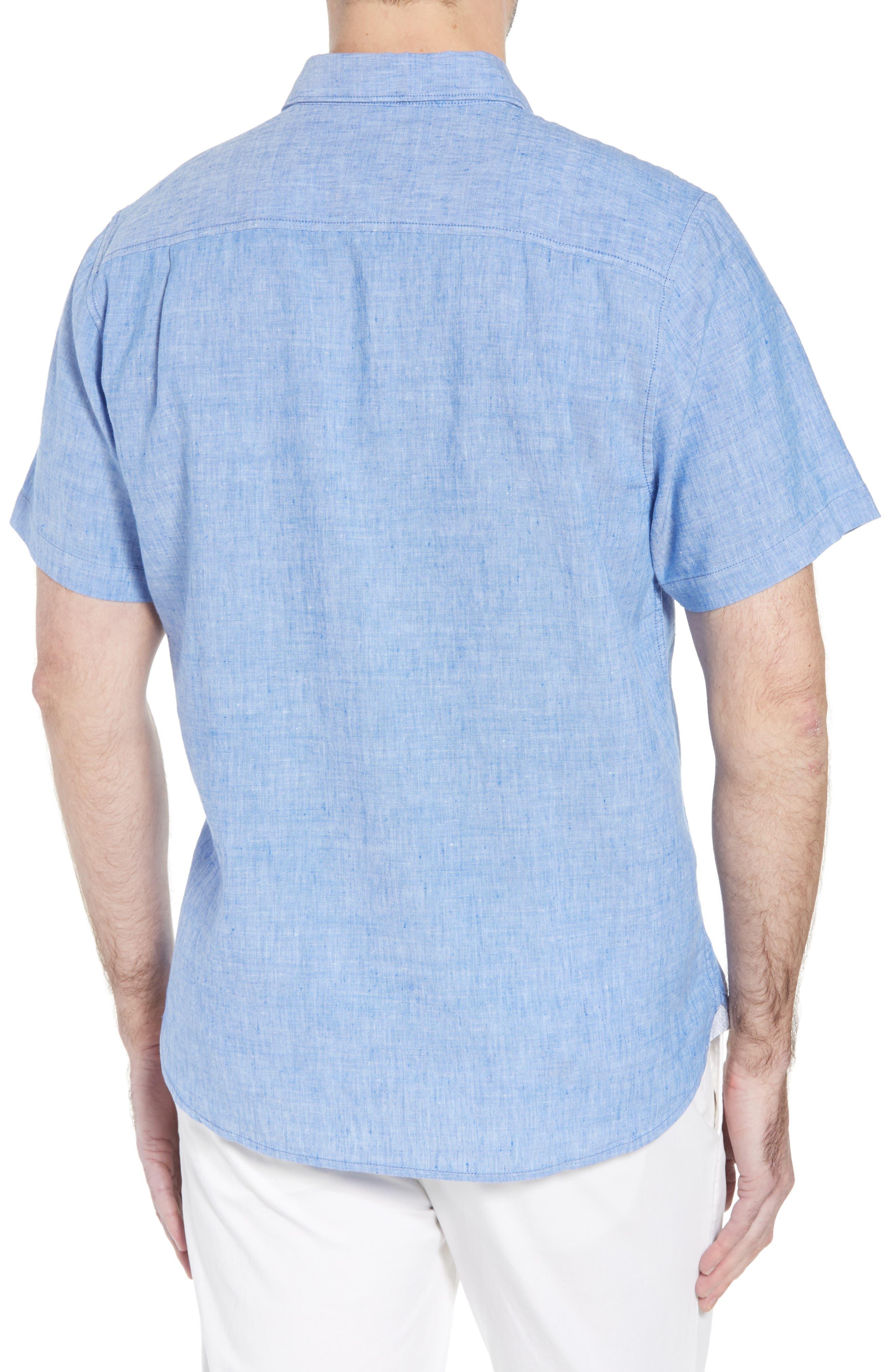 Lanai Tides Linen Blend Sport Shirt,                             Alternate thumbnail 2, color,                             Cobalt Sea