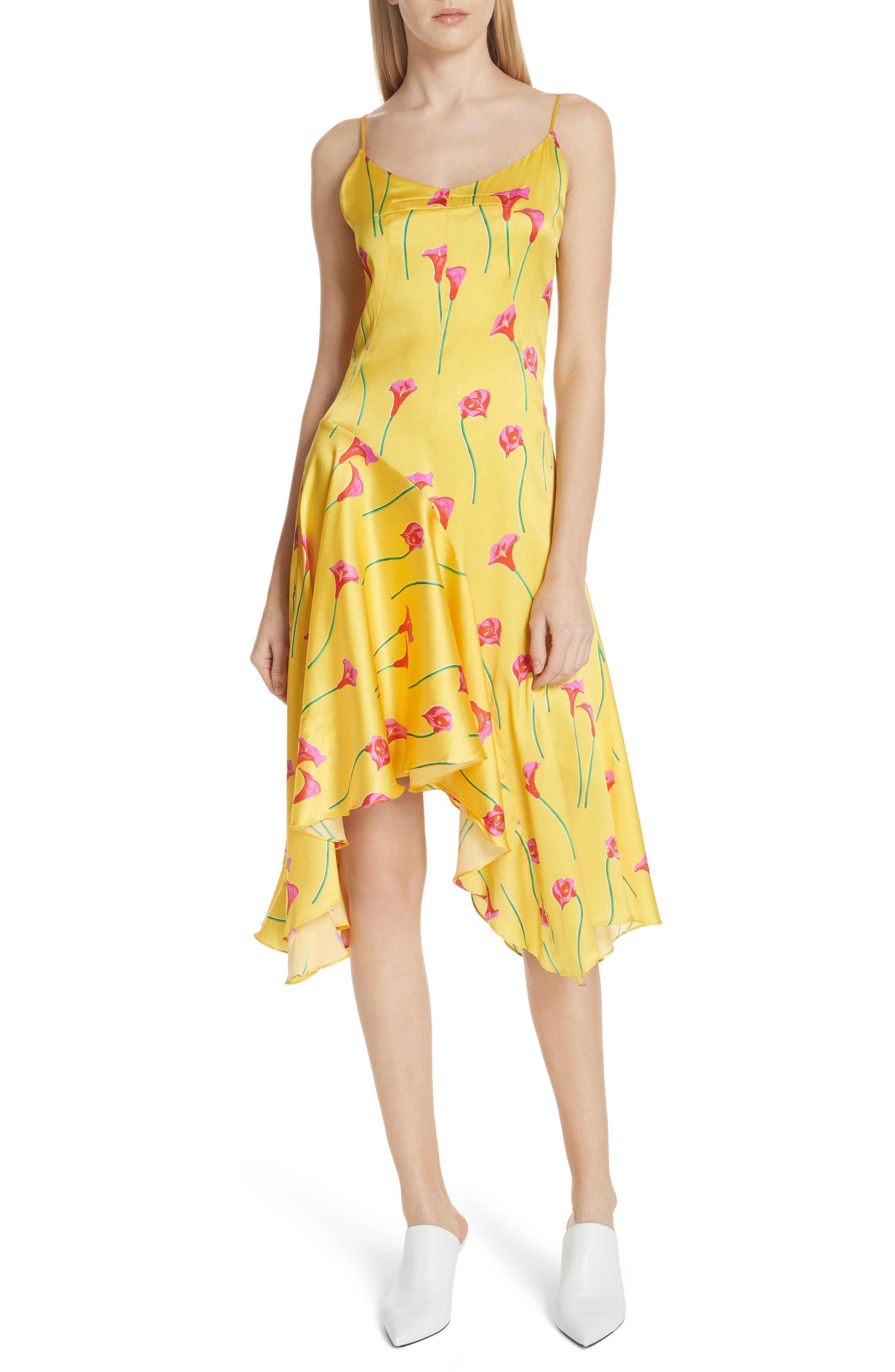 Marie Stretch Silk Slipdress,                         Main,                         color, Yellow