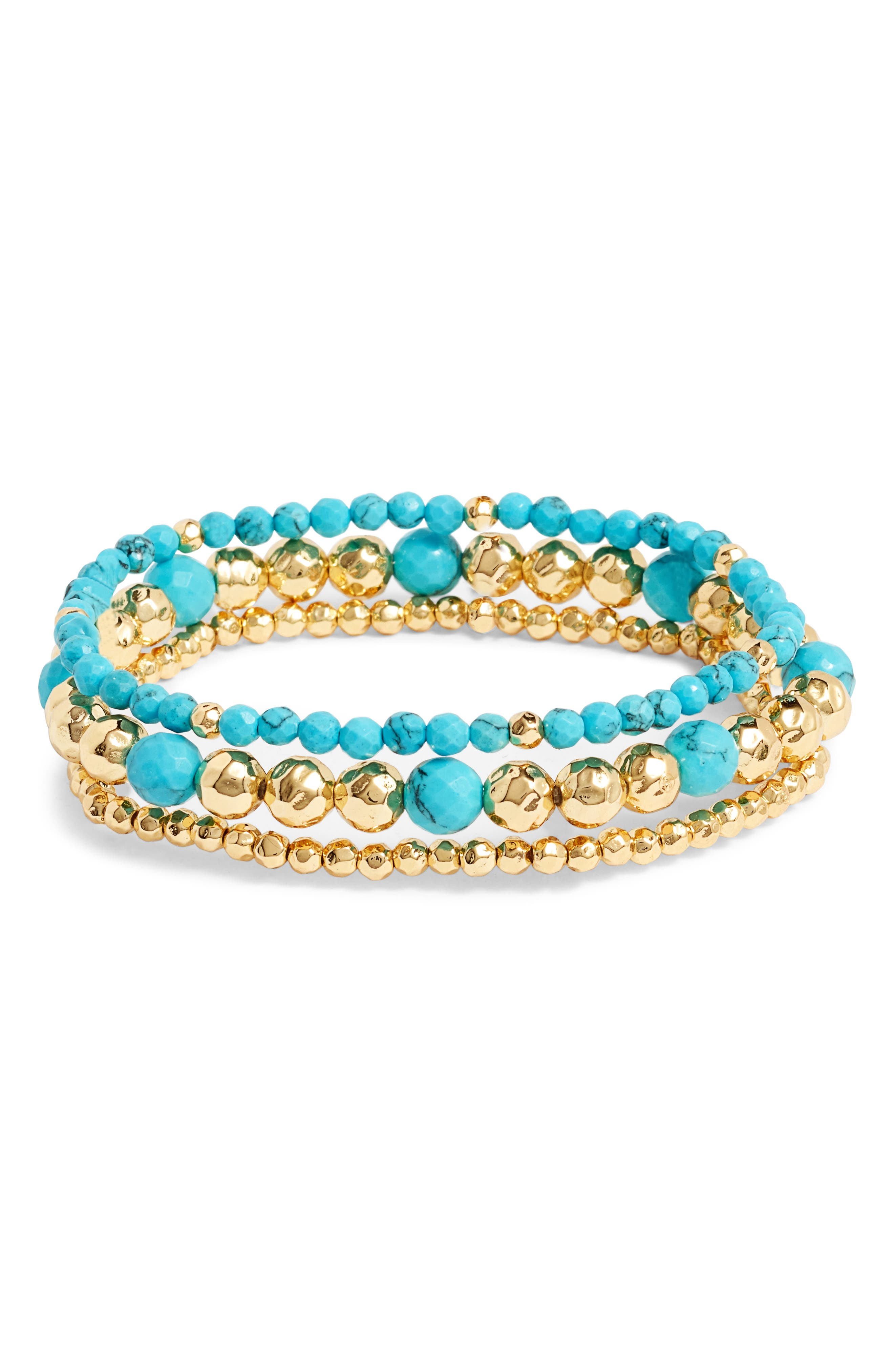 Gypset Set of 3 Bracelets,                             Main thumbnail 1, color,                             Turquoise/ Gold