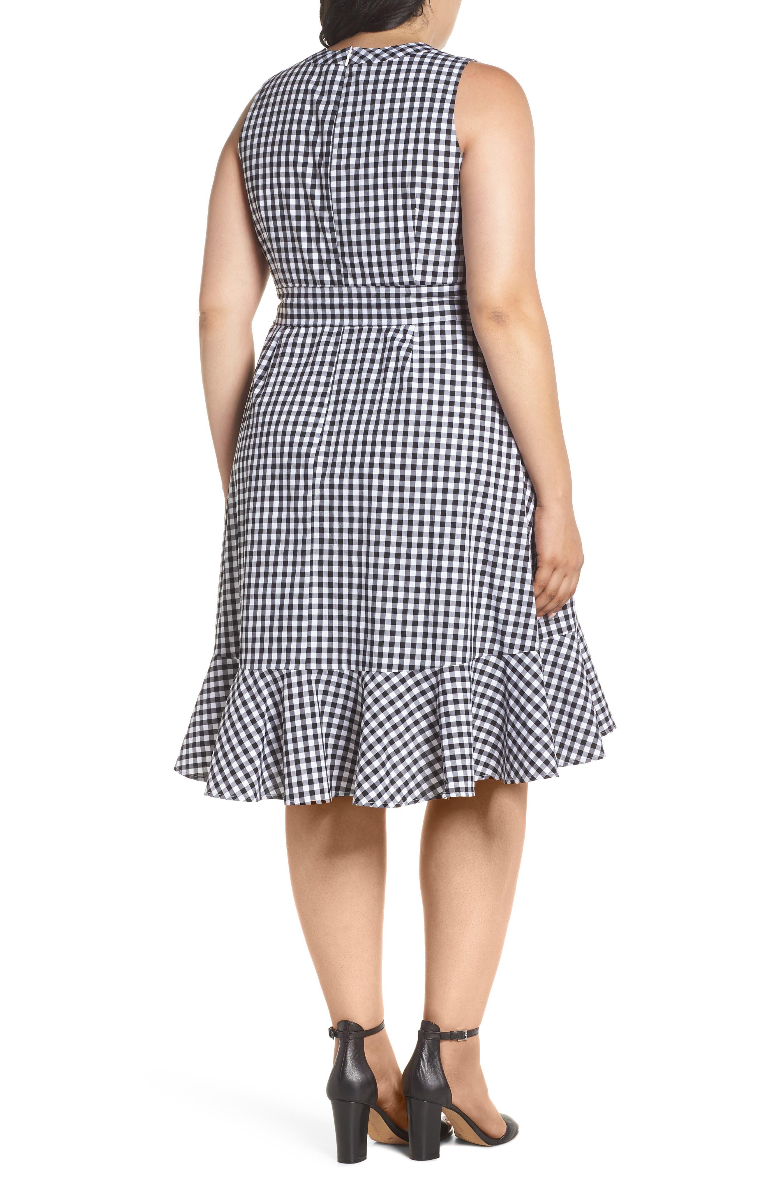Belted Ruffle Hem Gingham Dress,                             Alternate thumbnail 2, color,                             Black/ White