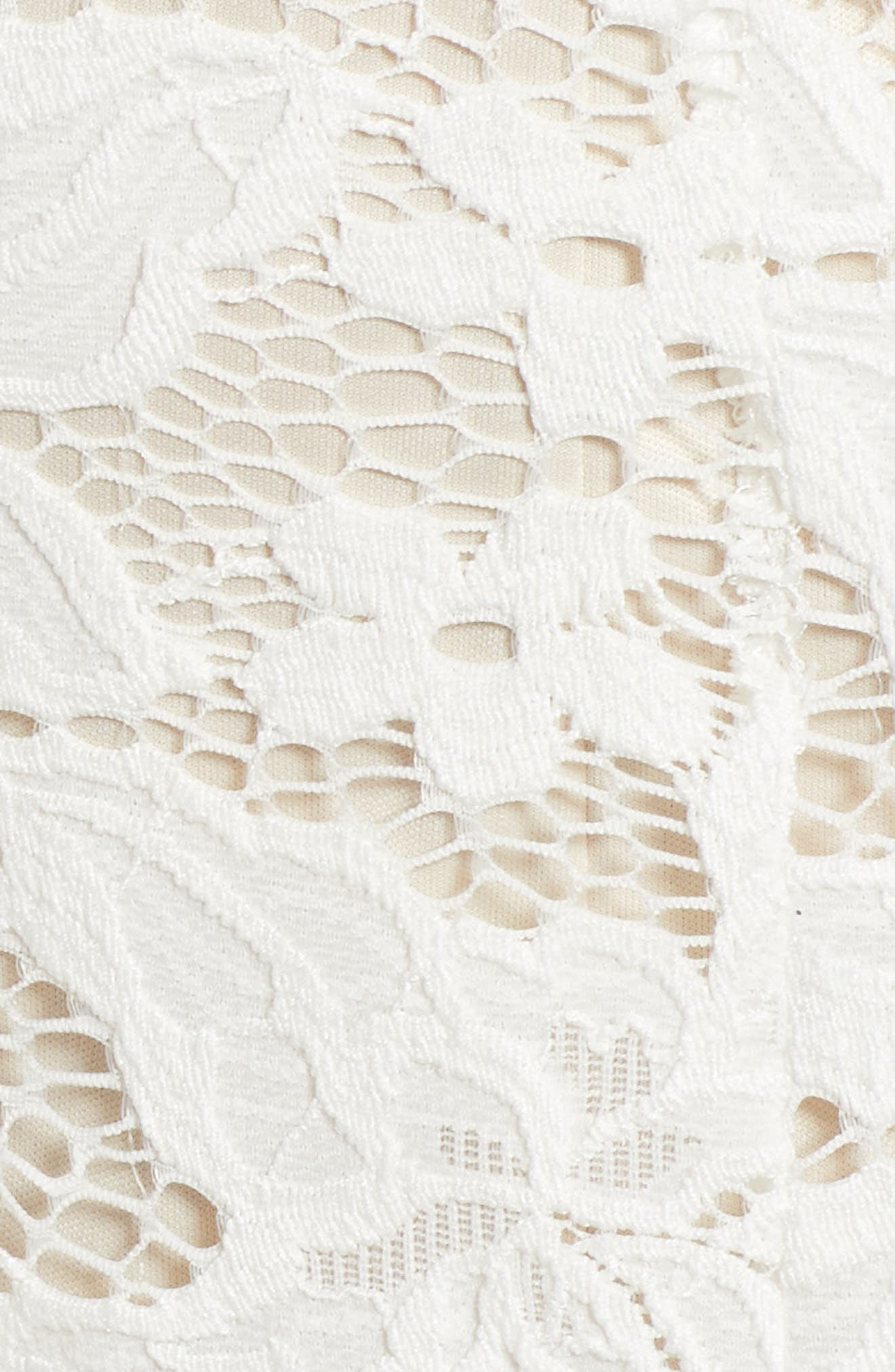 Lace Body-Con Minidress,                             Alternate thumbnail 6, color,                             Ivory/ Nude