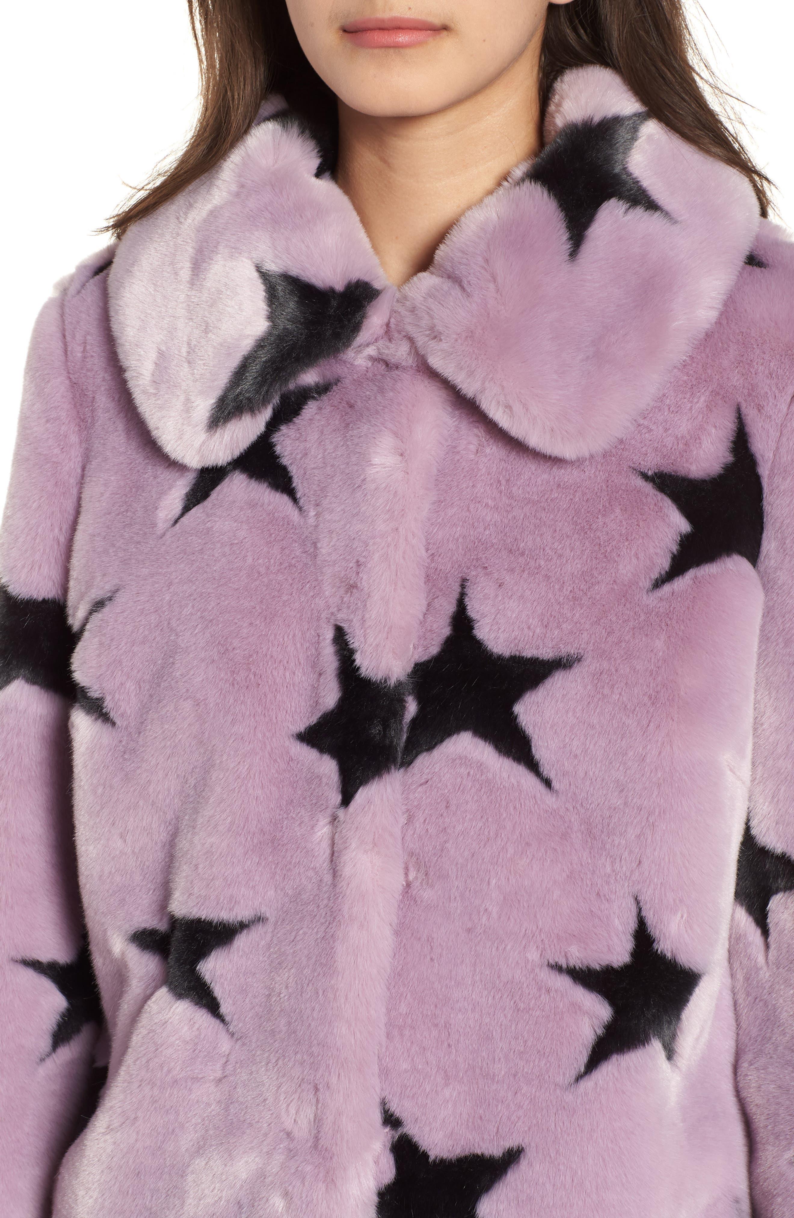 Faux Fur Swing Coat,                             Alternate thumbnail 4, color,                             Lavender/ Grey