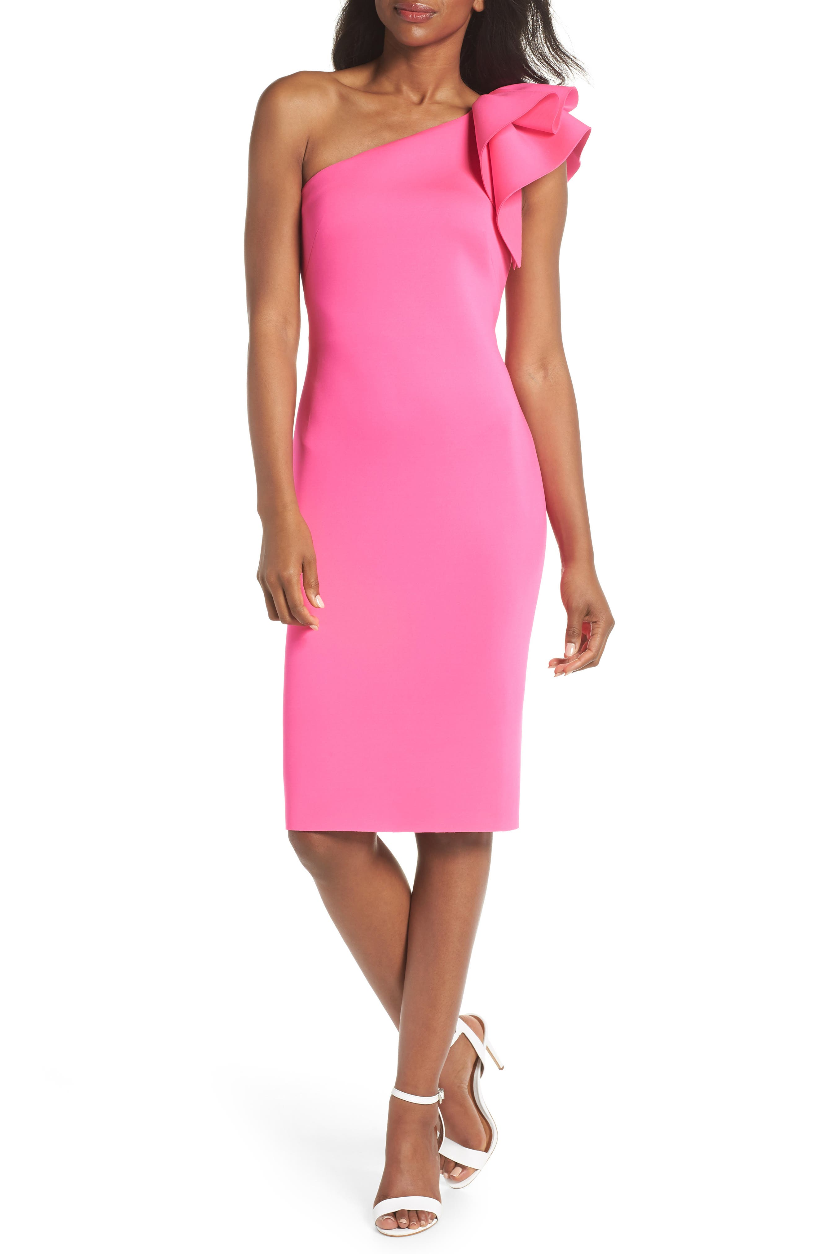 One-Shoulder Ruffle Sheath Dress,                             Main thumbnail 1, color,                             Hot Pink