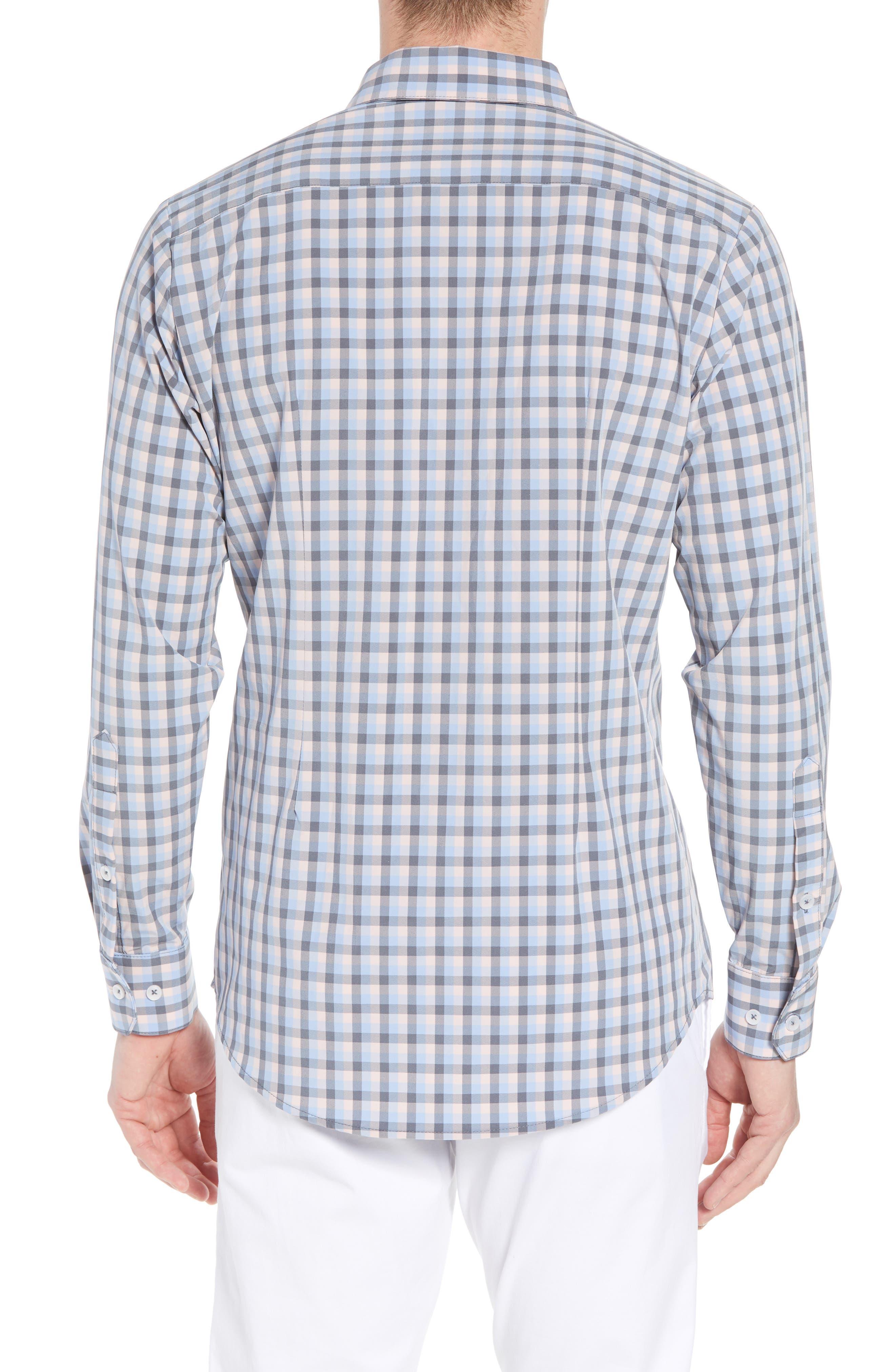 Briscoe Slim Fit Check Performance Sport Shirt,                             Alternate thumbnail 3, color,                             Pink