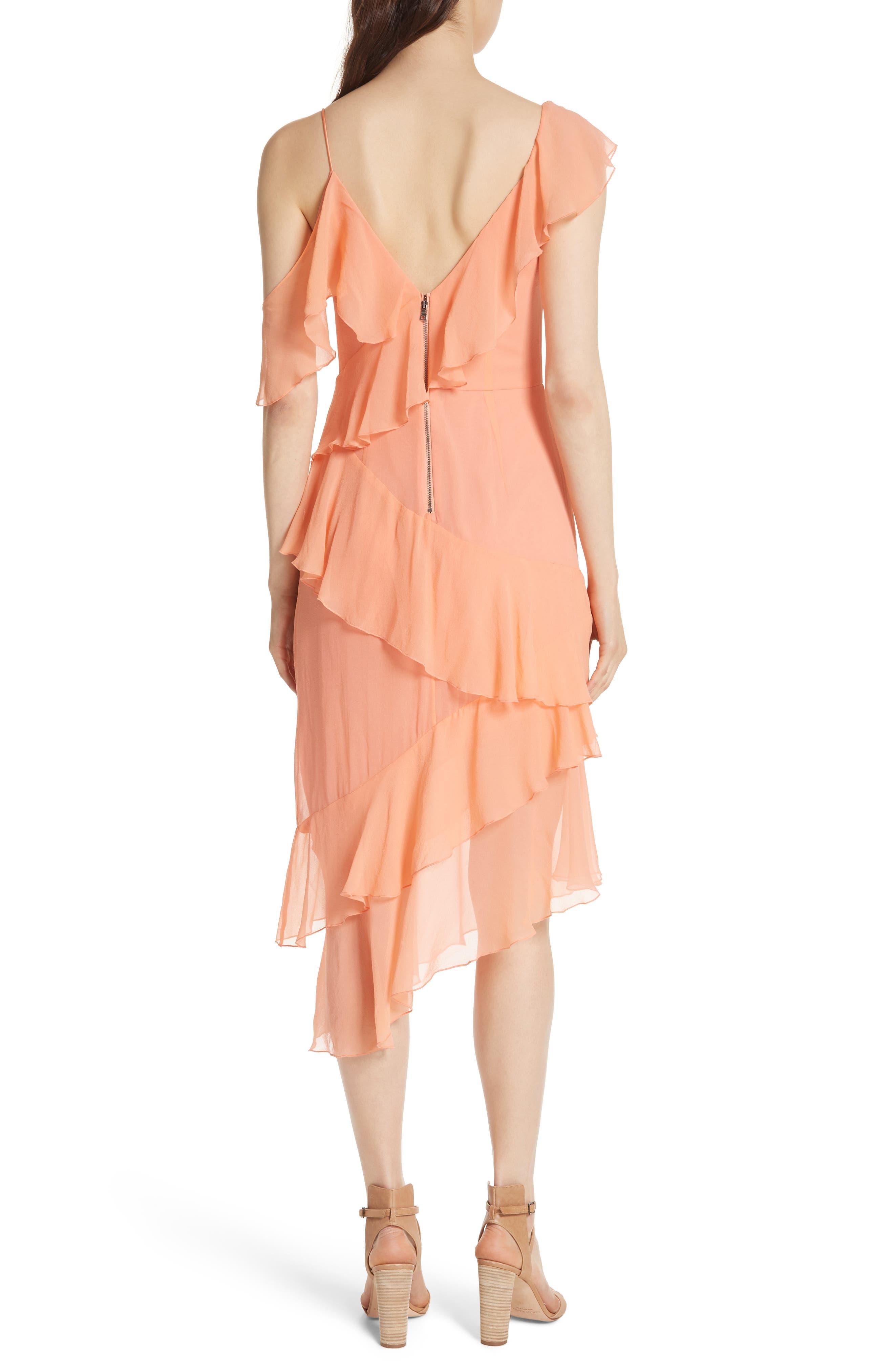 Olympia Asymmetrical Silk Chiffon Dress,                             Alternate thumbnail 2, color,                             Peach