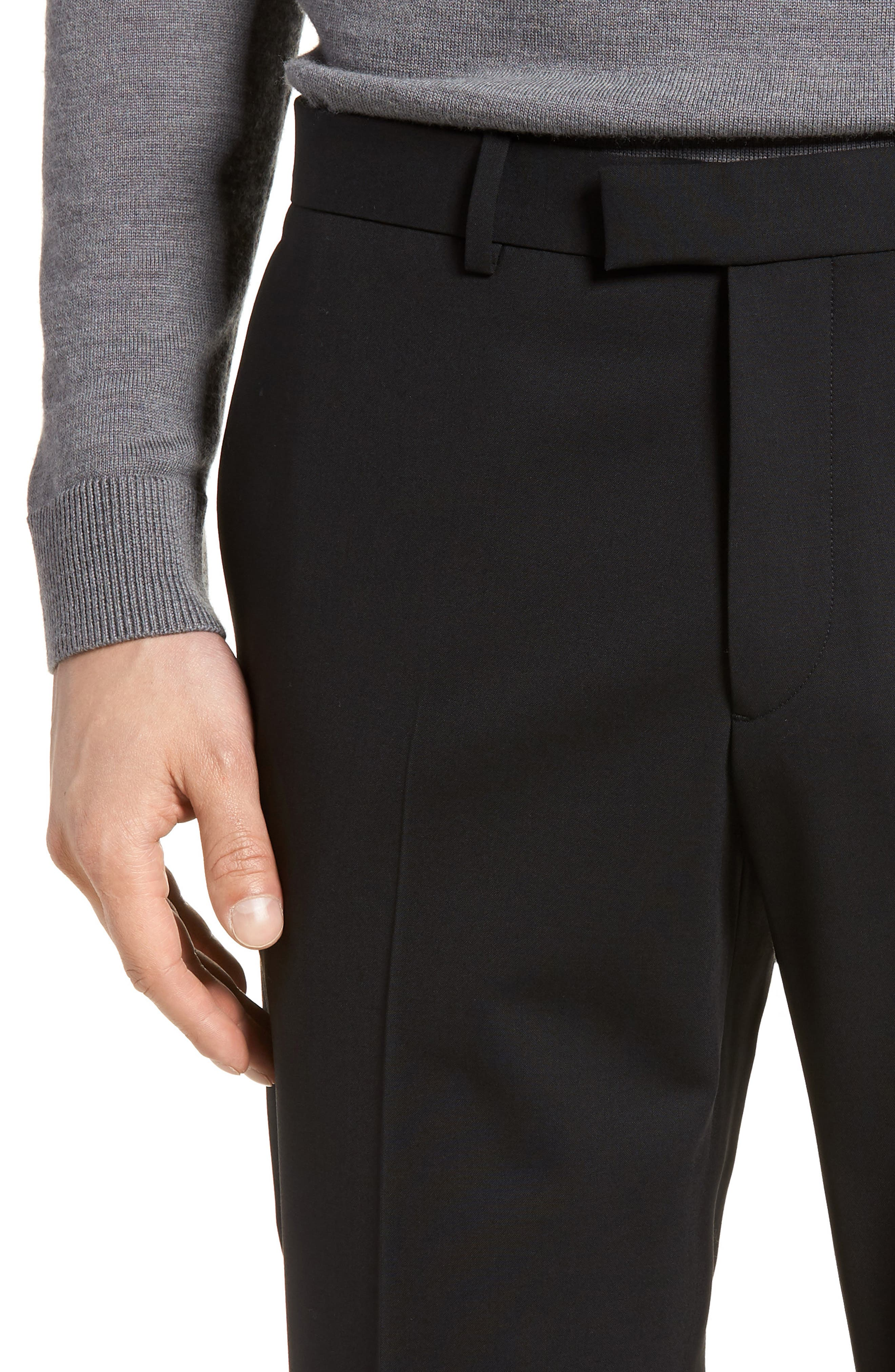 Marlo Flat Front Stretch Wool Pants,                             Alternate thumbnail 4, color,                             Black