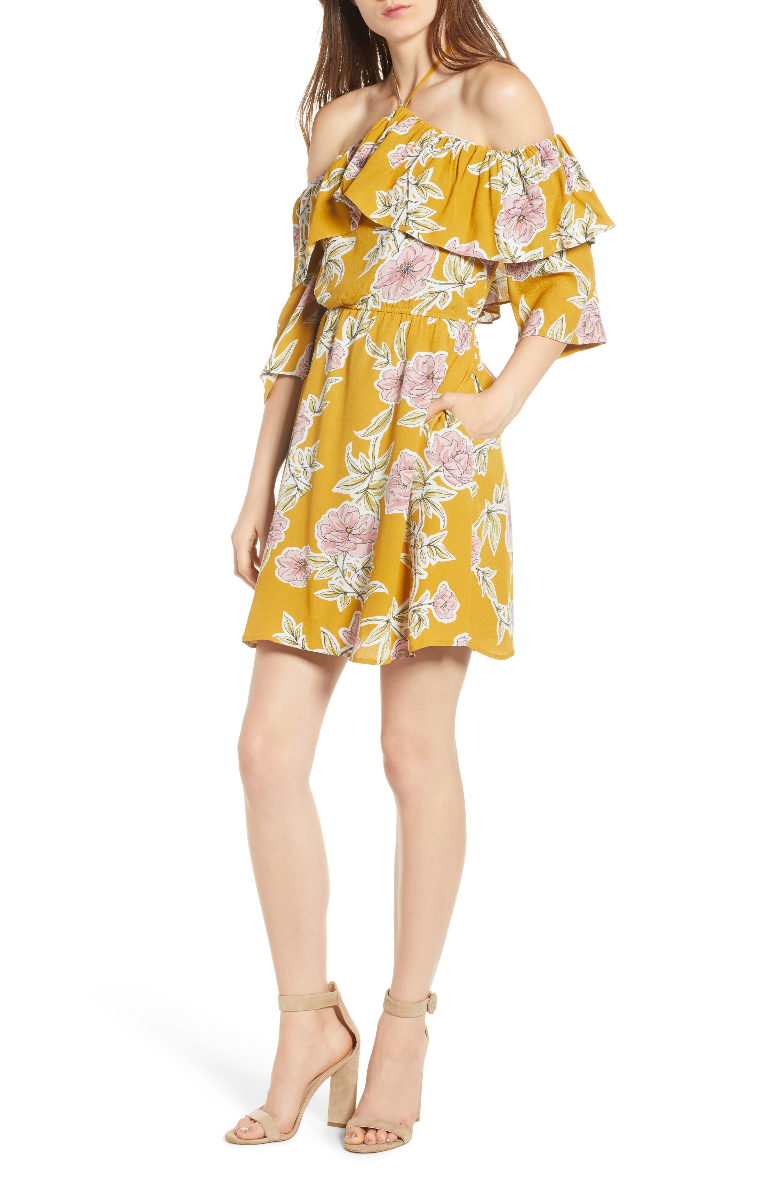 Fonda Cold Shoulder Halter Dress,                             Main thumbnail 1, color,                             Yellow Gold