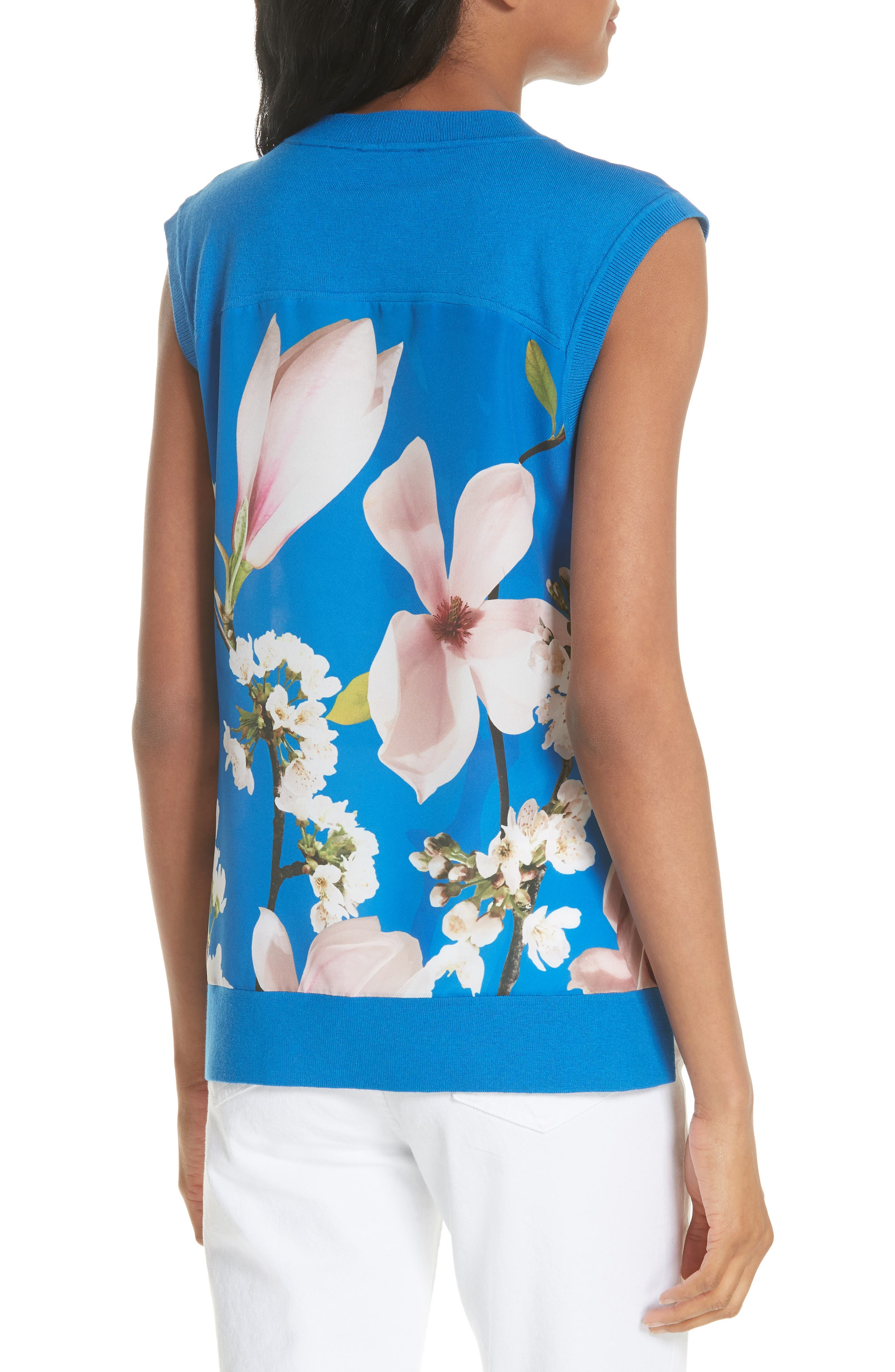 Harmony Floral Mix Media Sleeveless Sweater,                             Alternate thumbnail 2, color,                             Bright Blue
