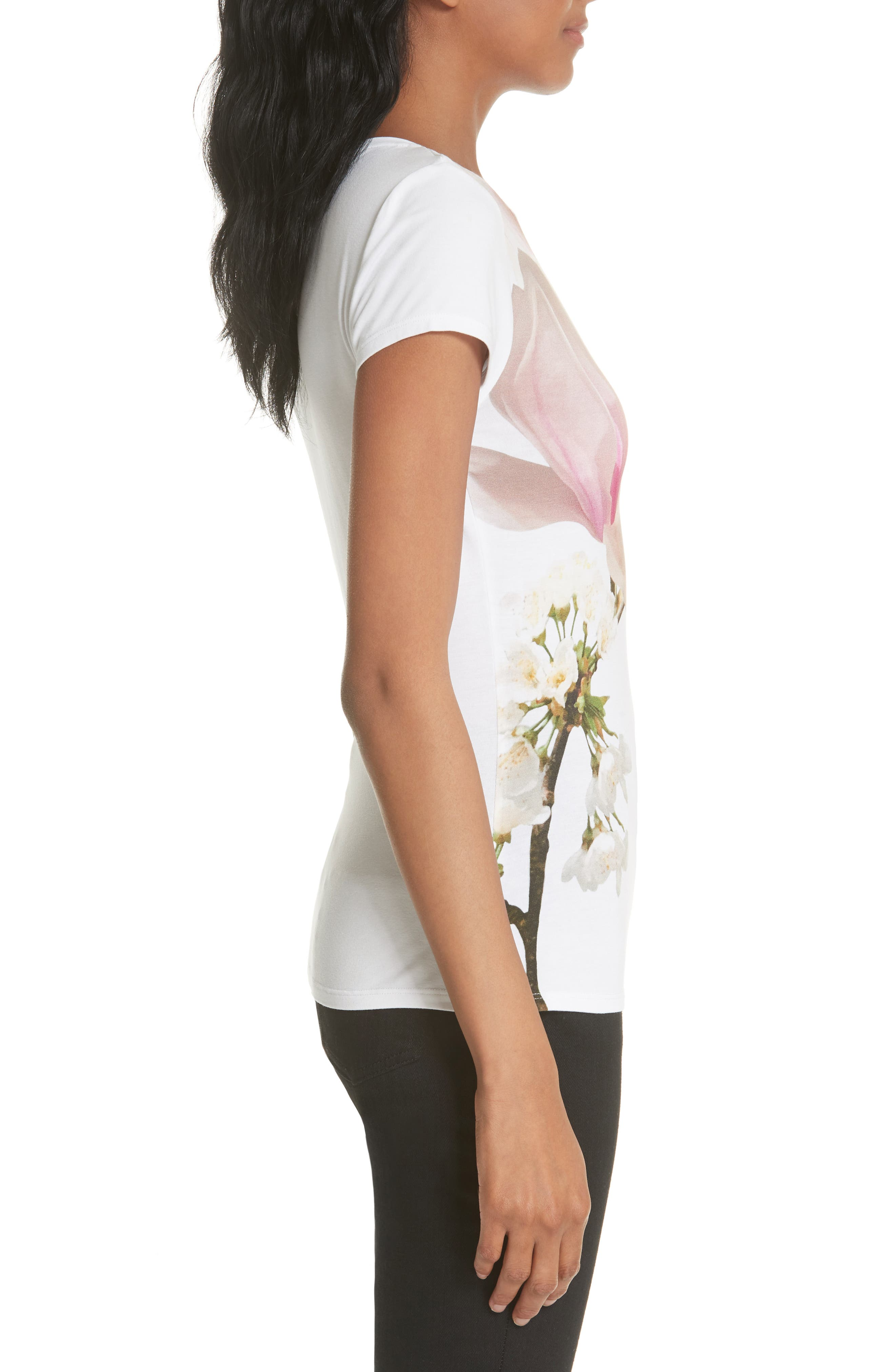 Harmony Fitted Tee,                             Alternate thumbnail 3, color,                             White