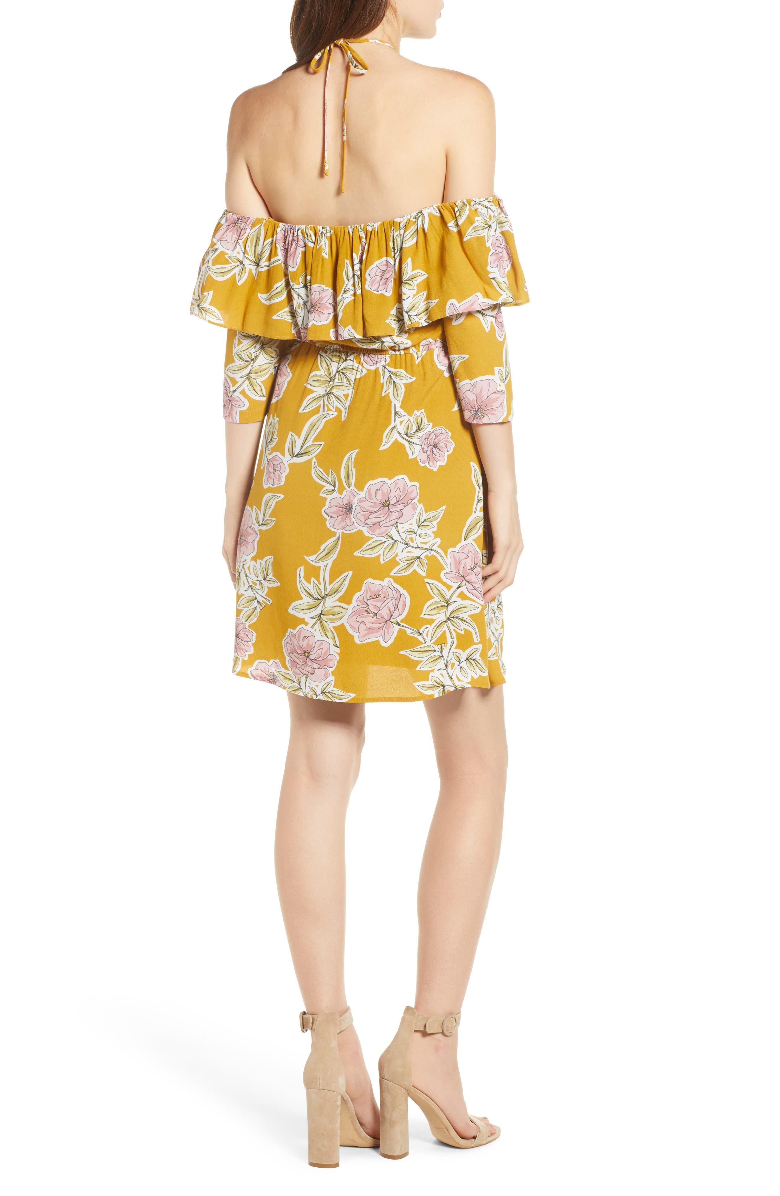 Fonda Cold Shoulder Halter Dress,                             Alternate thumbnail 2, color,                             Yellow Gold