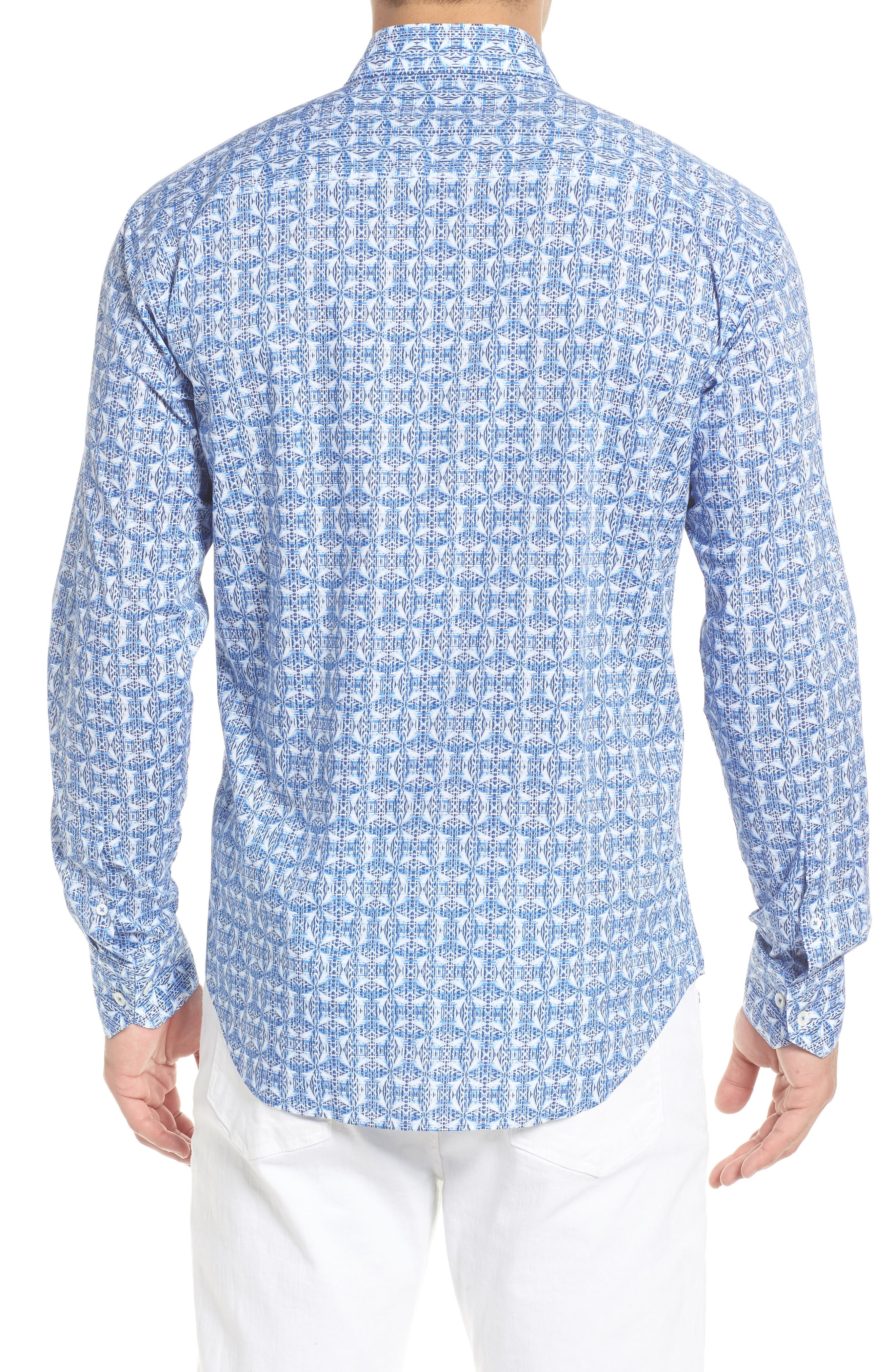 Shaped Fit Abstract Print Sport Shirt,                             Alternate thumbnail 3, color,                             Classic Blue