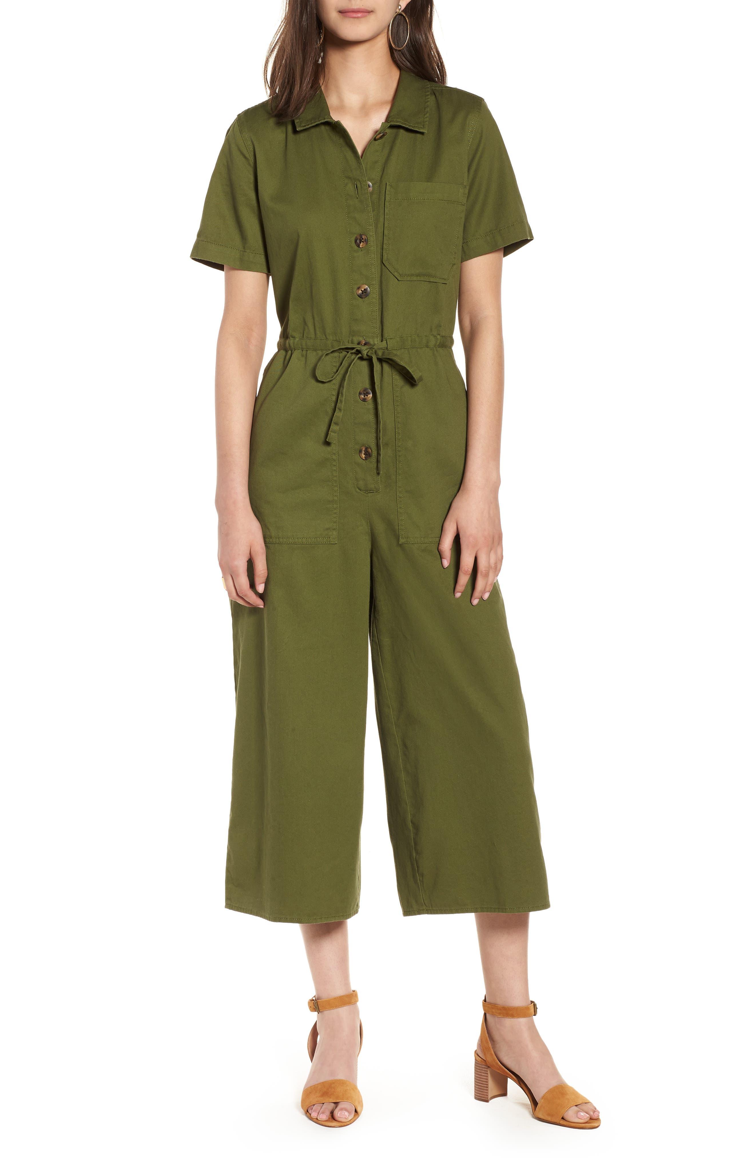 Wide Leg Utility Jumpsuit,                             Main thumbnail 1, color,                             Desert Olive