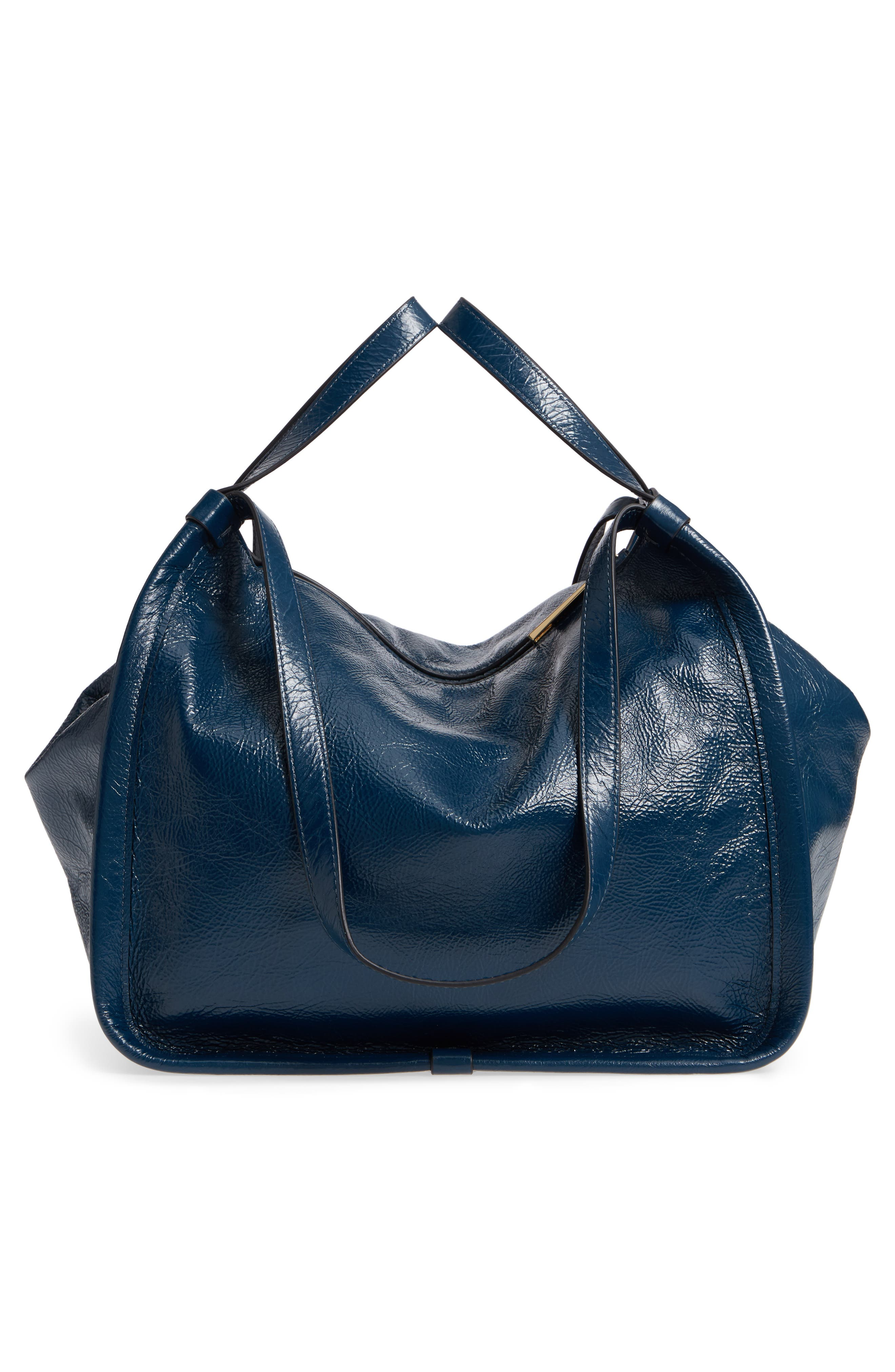 Leather Sport Tote,                             Alternate thumbnail 5, color,                             Island Blue