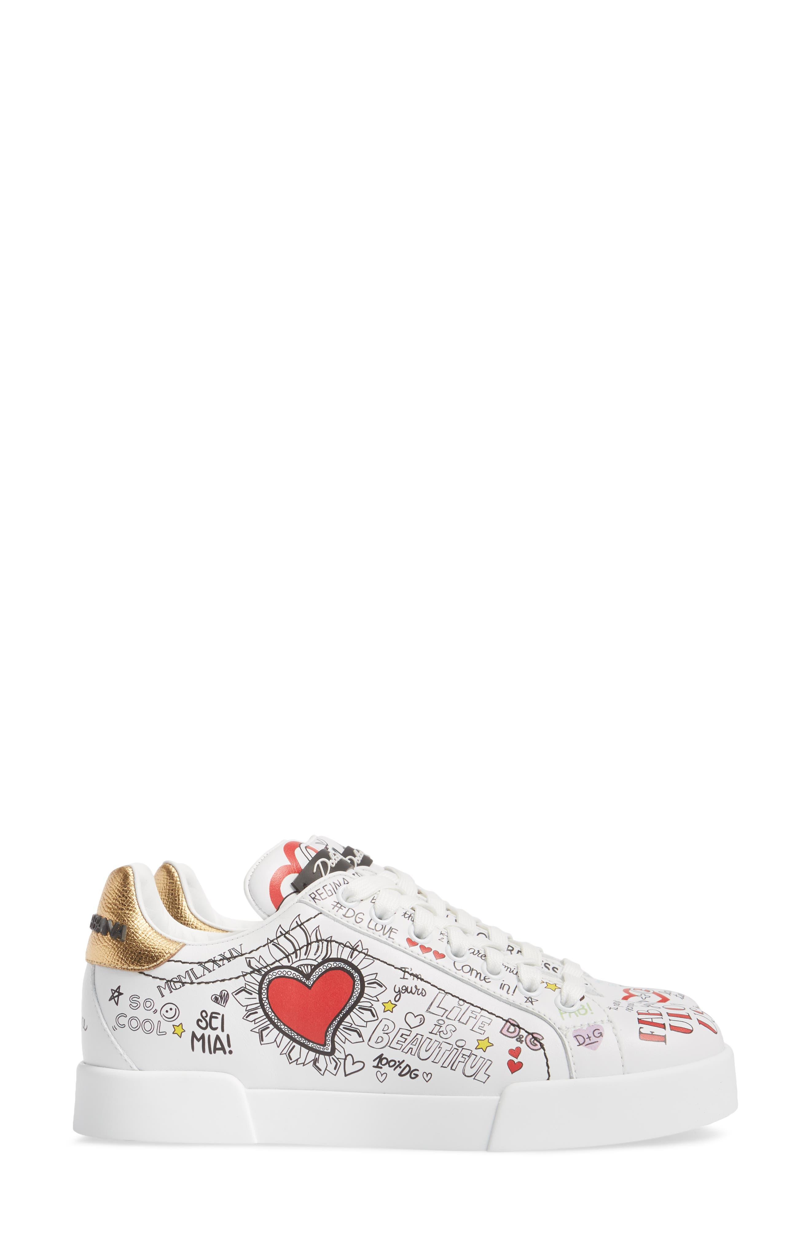 Graffiti Sneaker,                             Alternate thumbnail 4, color,                             White