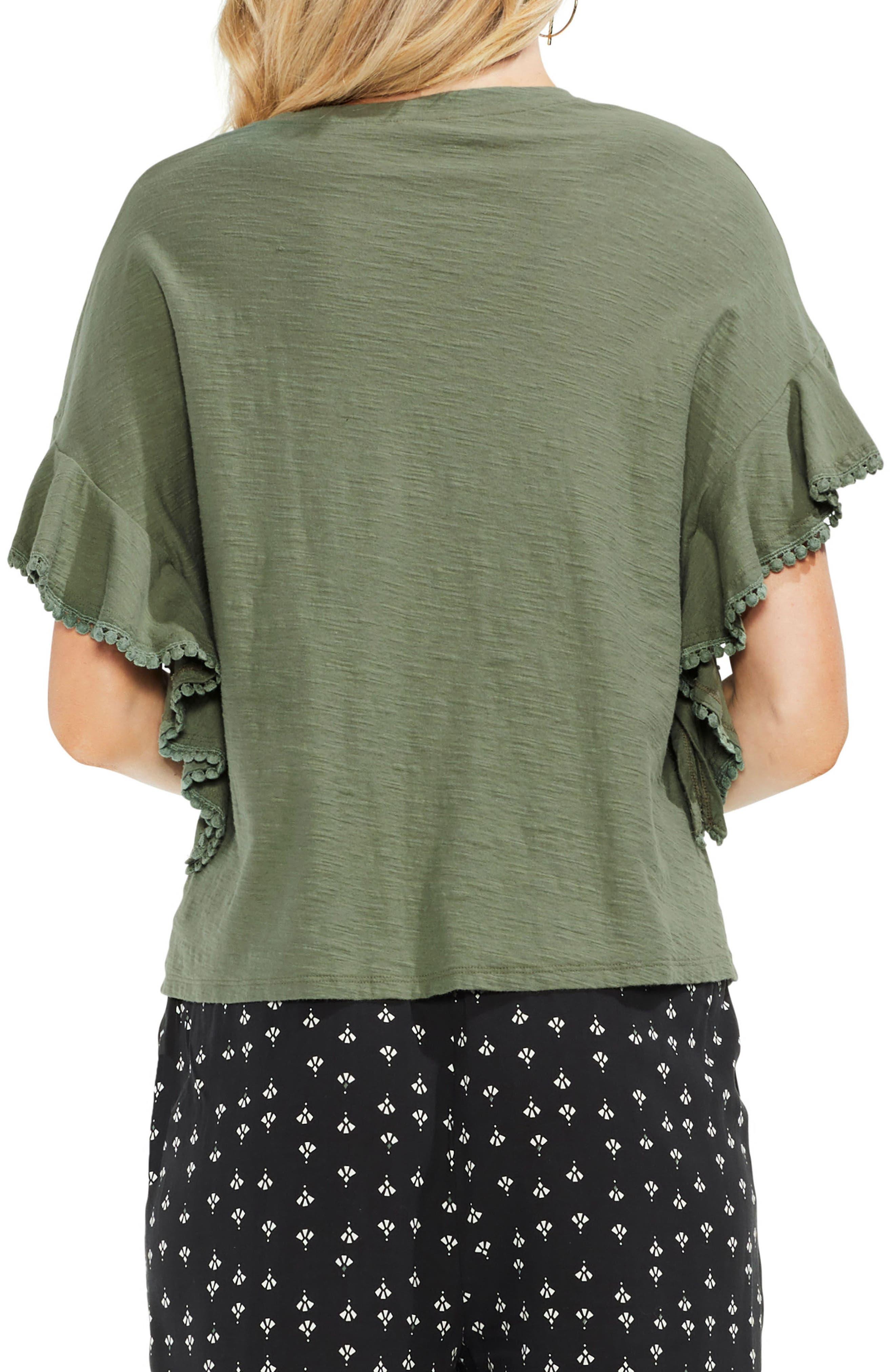 Ruffle Sleeve Tee,                             Alternate thumbnail 2, color,                             Canopy Green