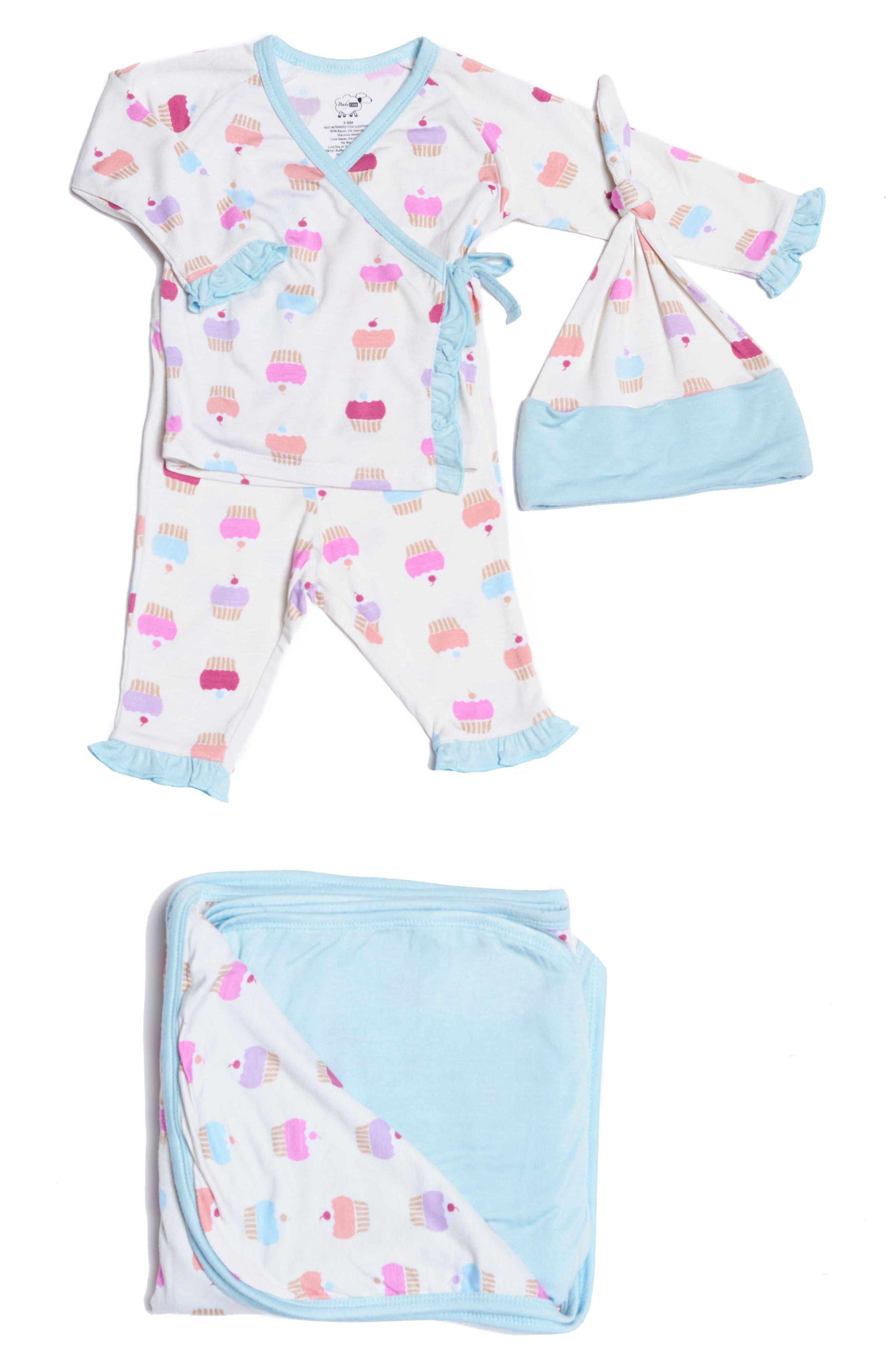 Ruffle Kimono Top, Pants, Hat & Blanket Set,                             Main thumbnail 1, color,                             Cupcakes