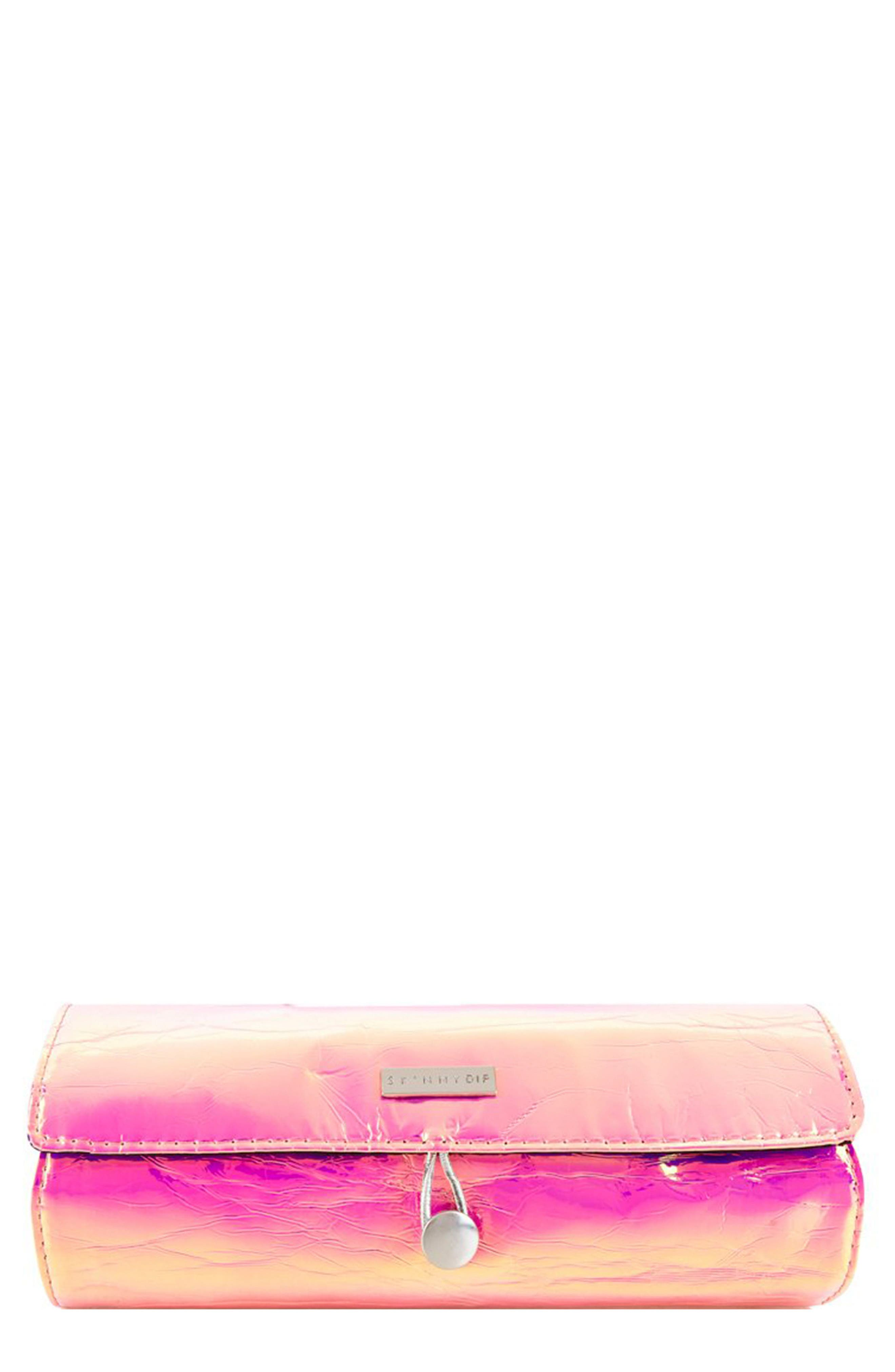 Skinny Dip Pink Iridescent Brush Roll,                             Main thumbnail 1, color,                             No Color