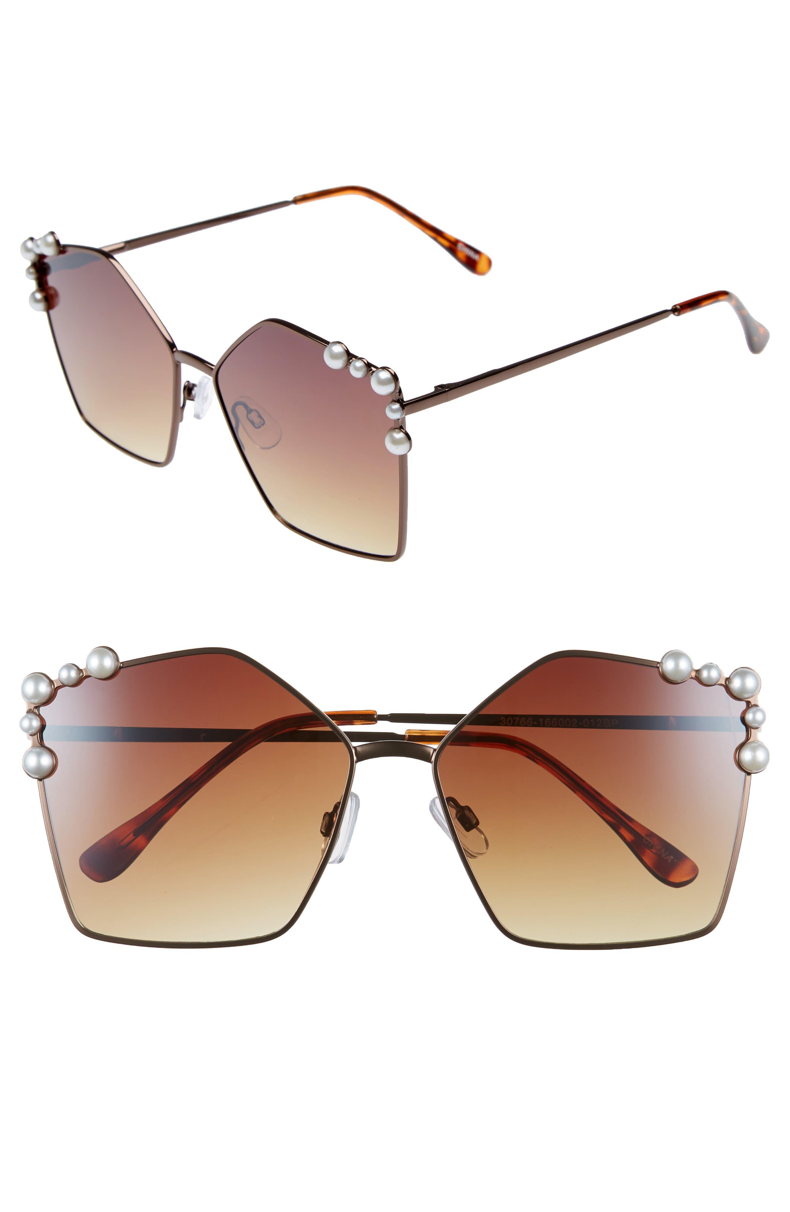 60mm Imitation Pearl Geometric Sunglasses,                             Main thumbnail 1, color,                             Brown/ Brown