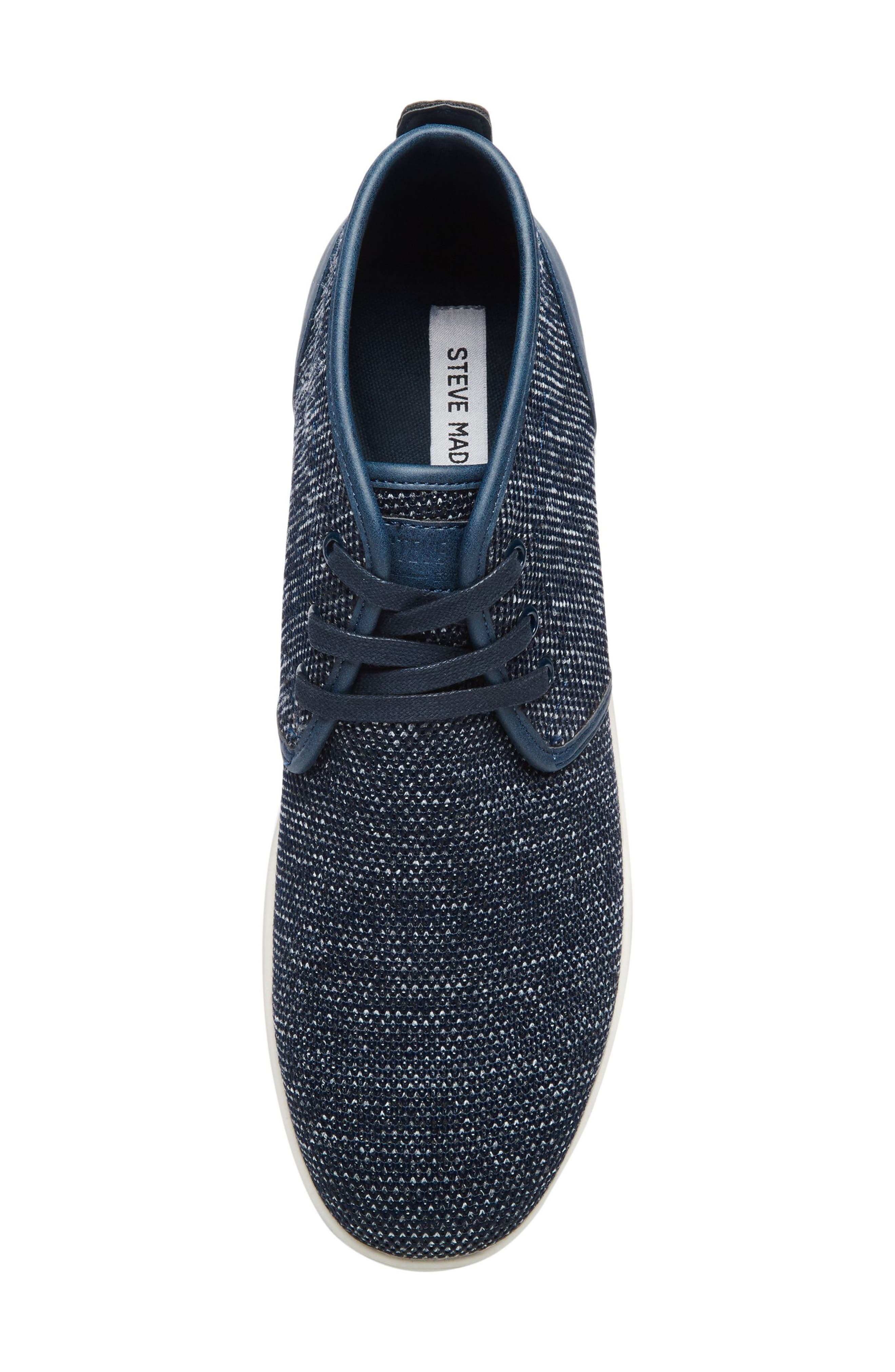 Fowler Knit Mid Top Sneaker,                             Alternate thumbnail 5, color,                             Navy Leather