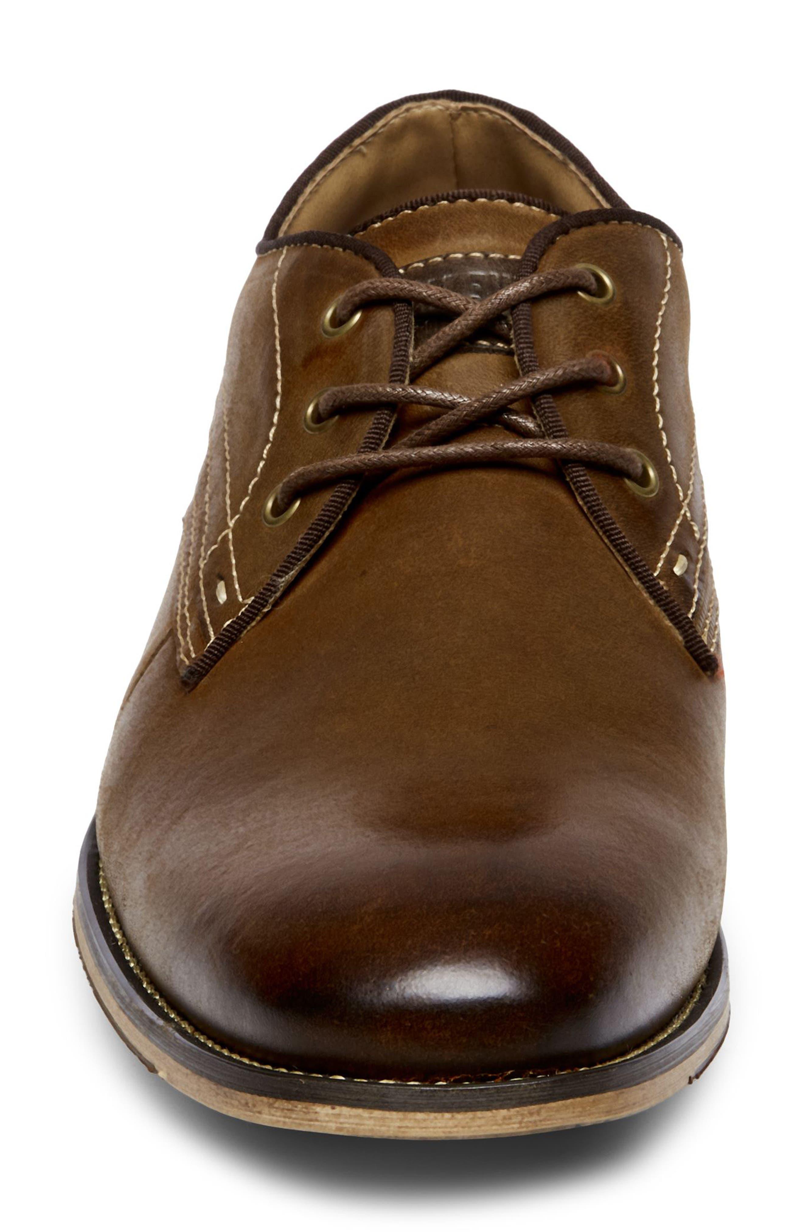Jetset Plain Toe Derby,                             Alternate thumbnail 4, color,                             Dark Tan Leather