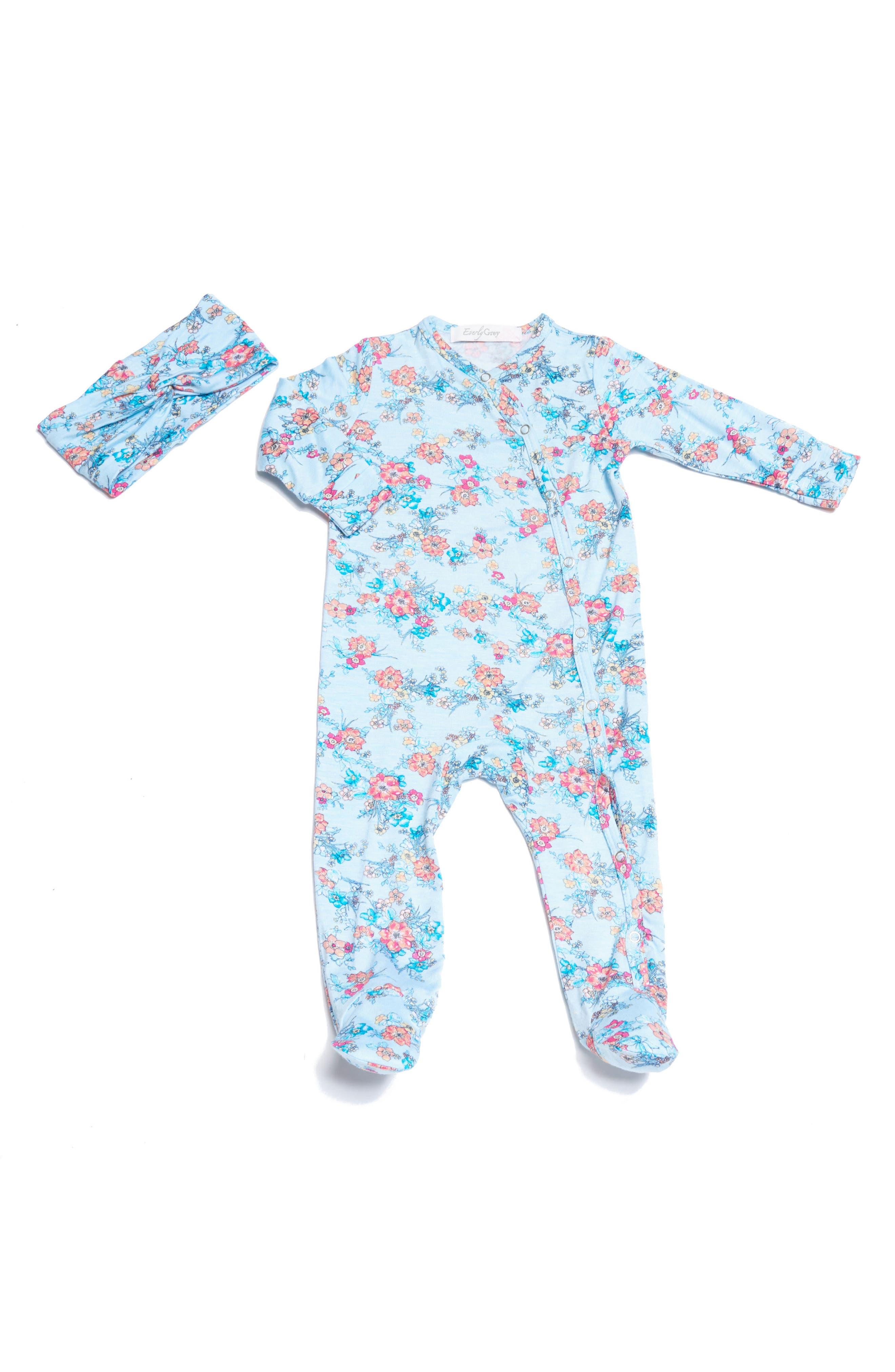 Baby Grey Footie & Head Wrap Set (Baby Girls)