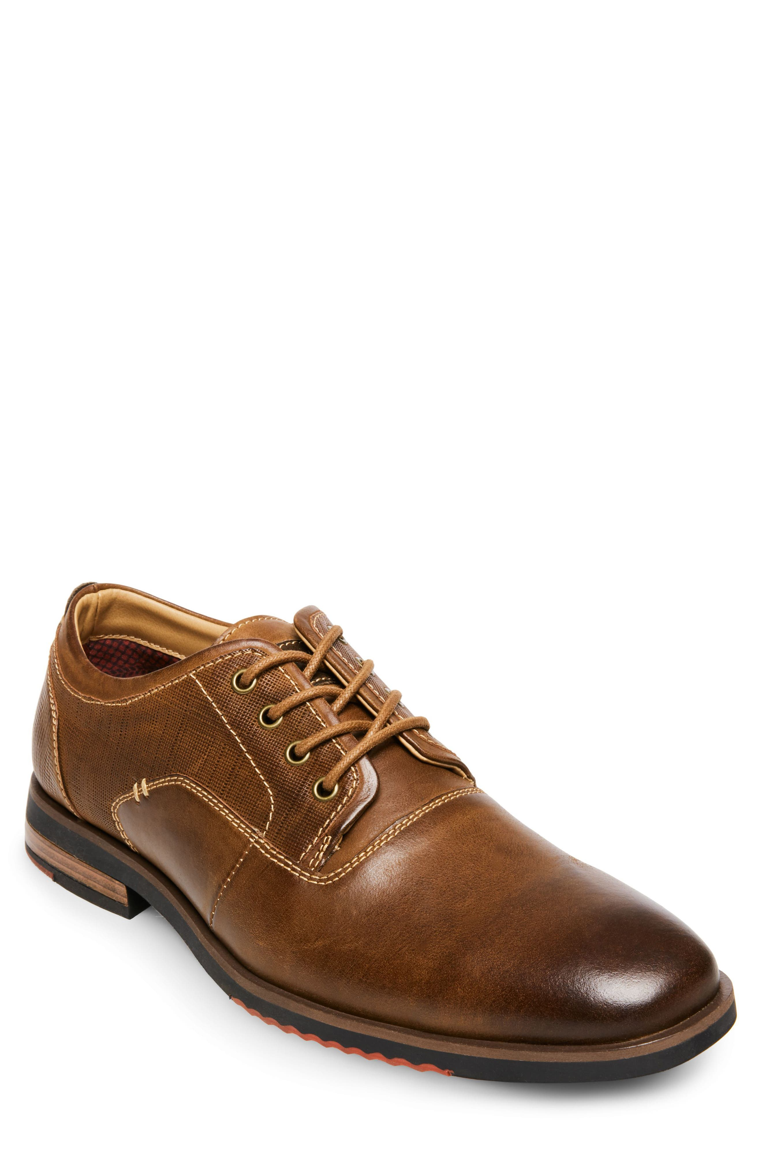 Mallet Textured Derby,                             Main thumbnail 1, color,                             Dark Tan Leather