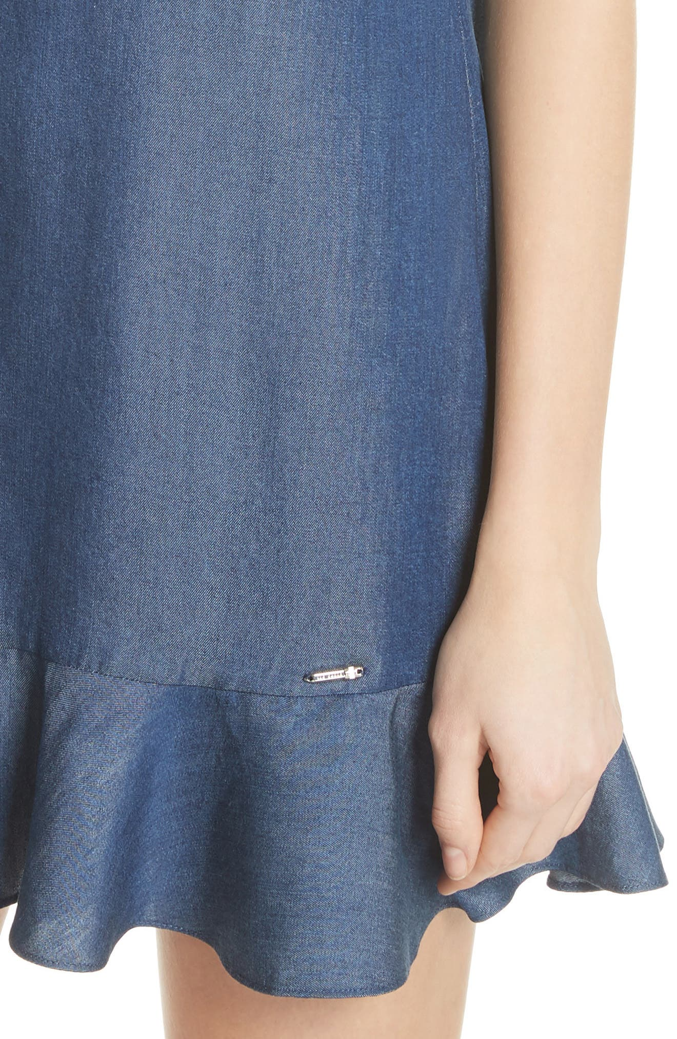 Colour by Numbers Denim Dress,                             Alternate thumbnail 4, color,                             Mid-Wash
