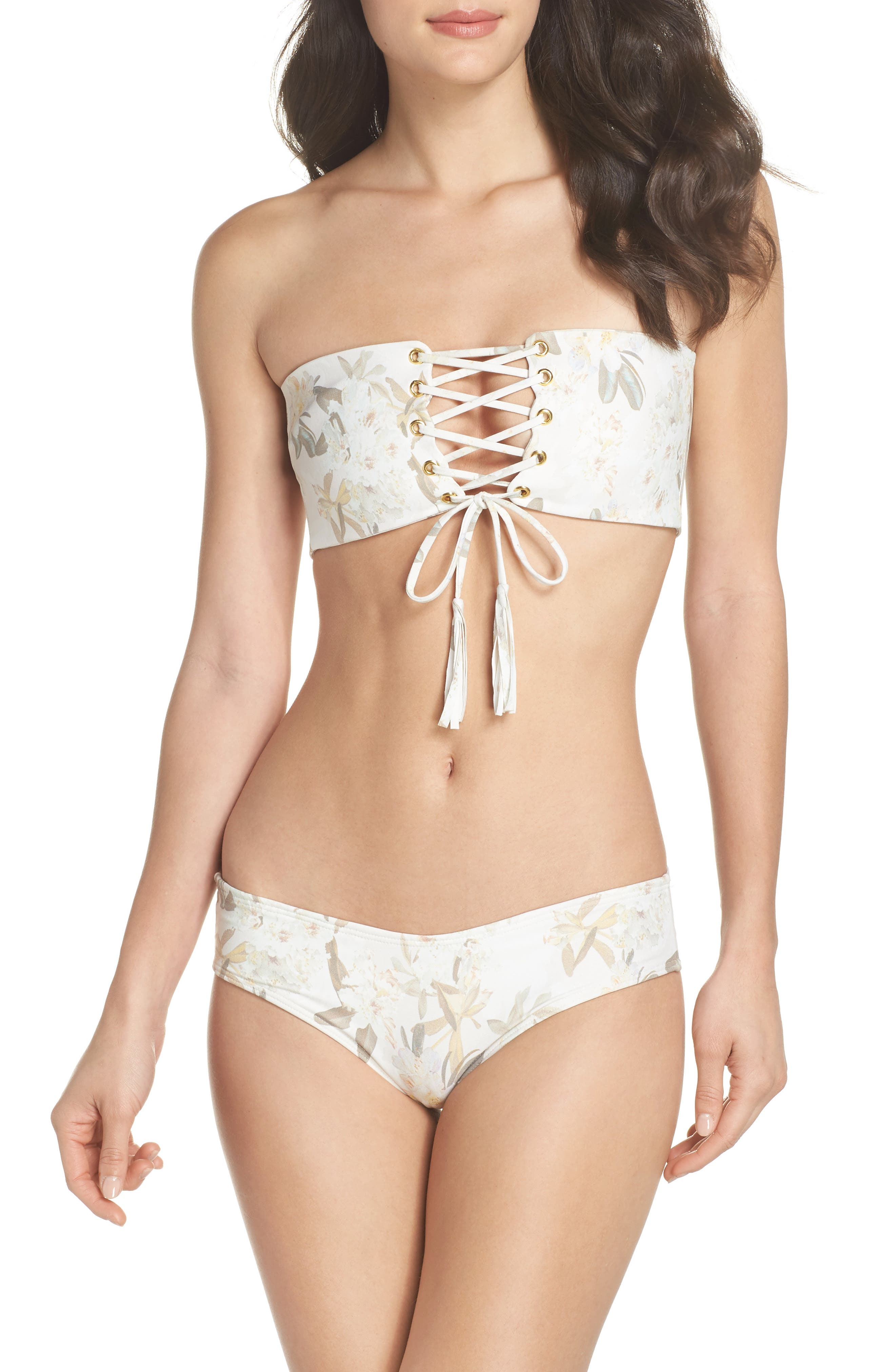 Floral Corset Bikini Top,                             Alternate thumbnail 5, color,                             Ete Floral White