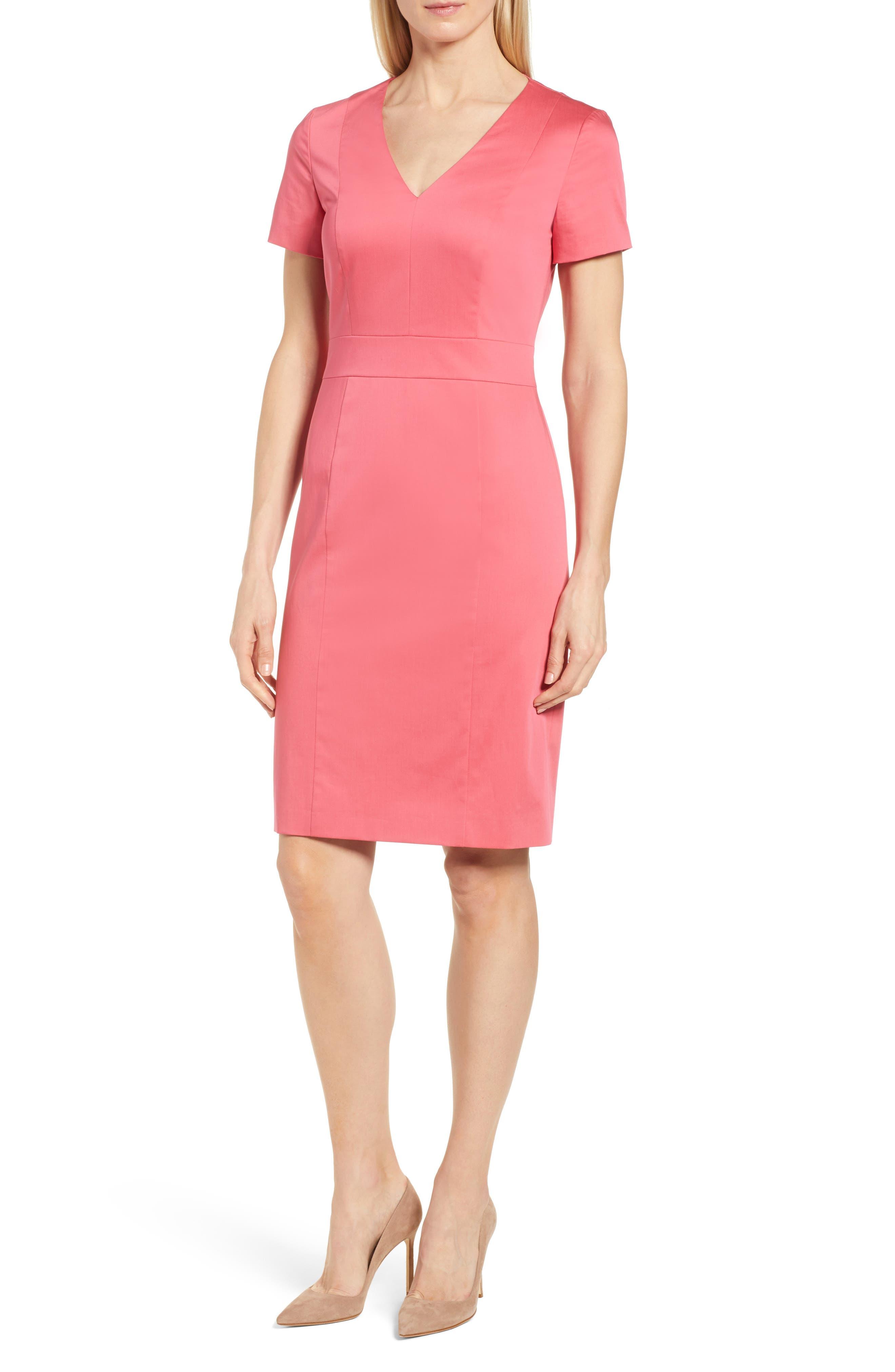 Dasali V-Neck Sheath Dress,                             Main thumbnail 1, color,                             Lychee Pink