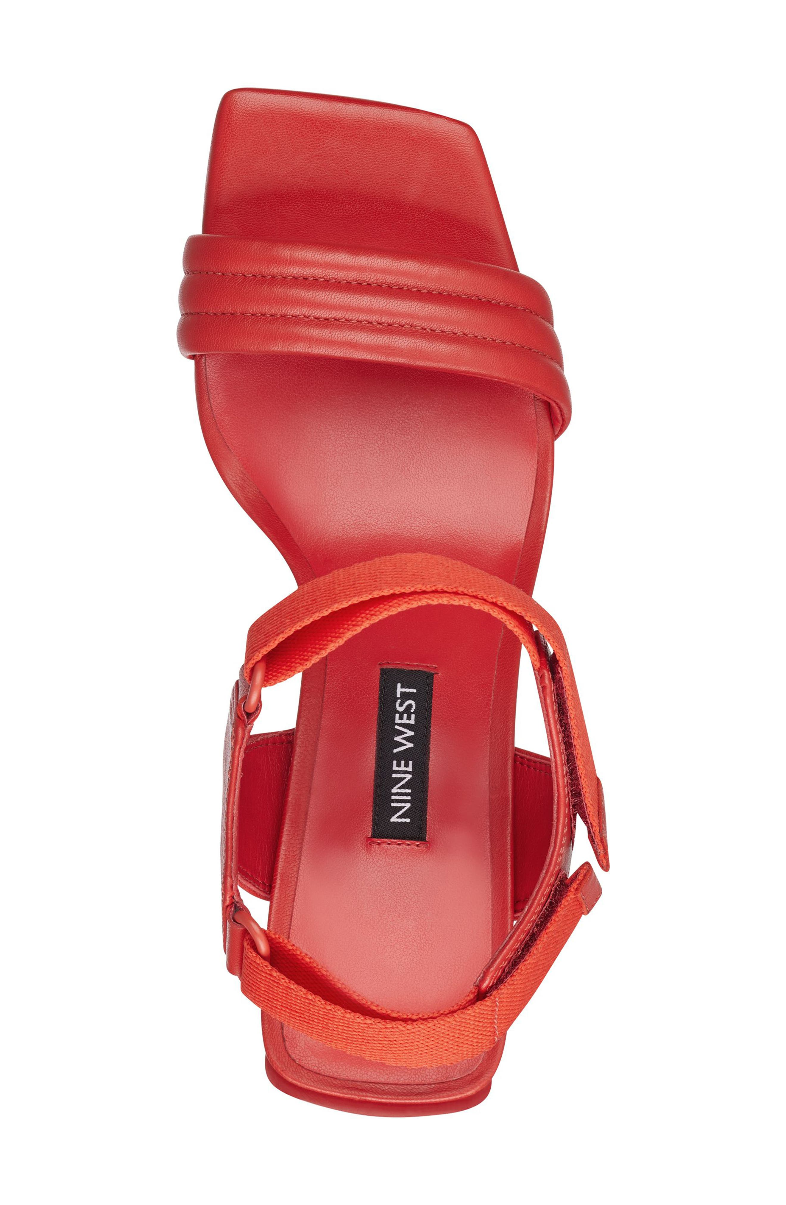 Zebree Sandal,                             Alternate thumbnail 4, color,                             Red Leather