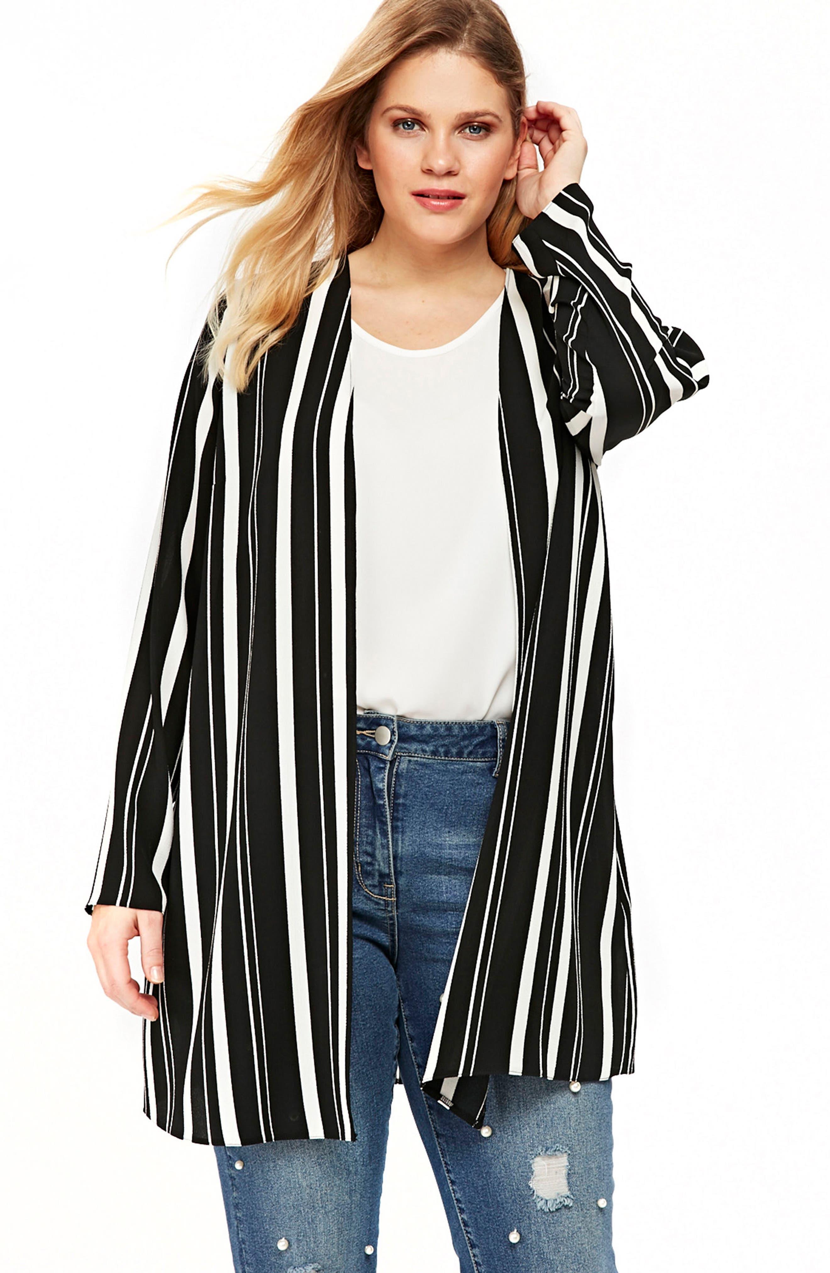 Evans Variegated Stripe Kimono Jacket (Plus Size)