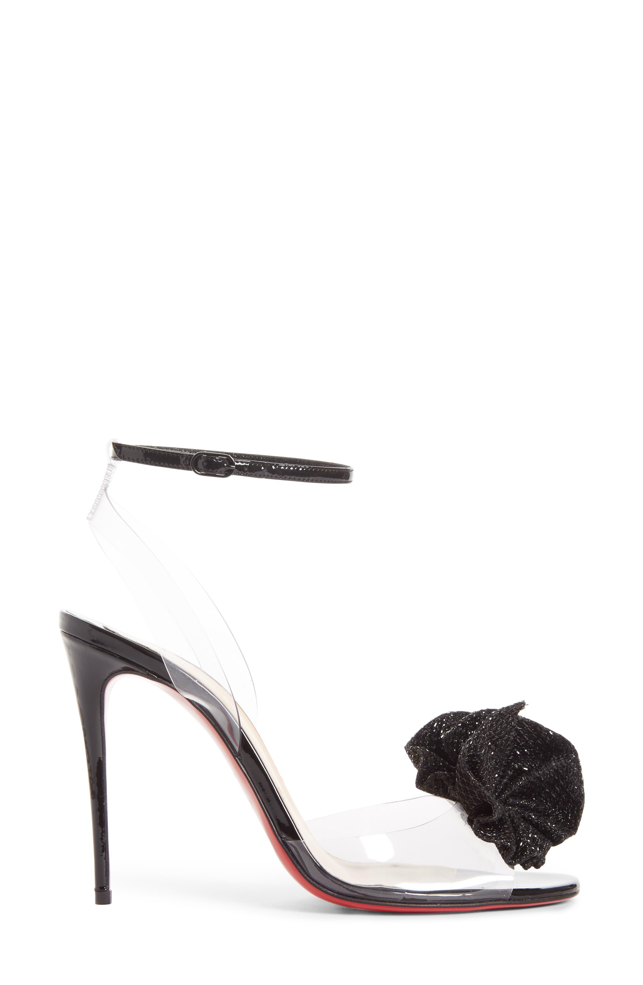 Fossiliza Clear Ankle Strap Sandal,                             Alternate thumbnail 3, color,                             Black/ Transparent