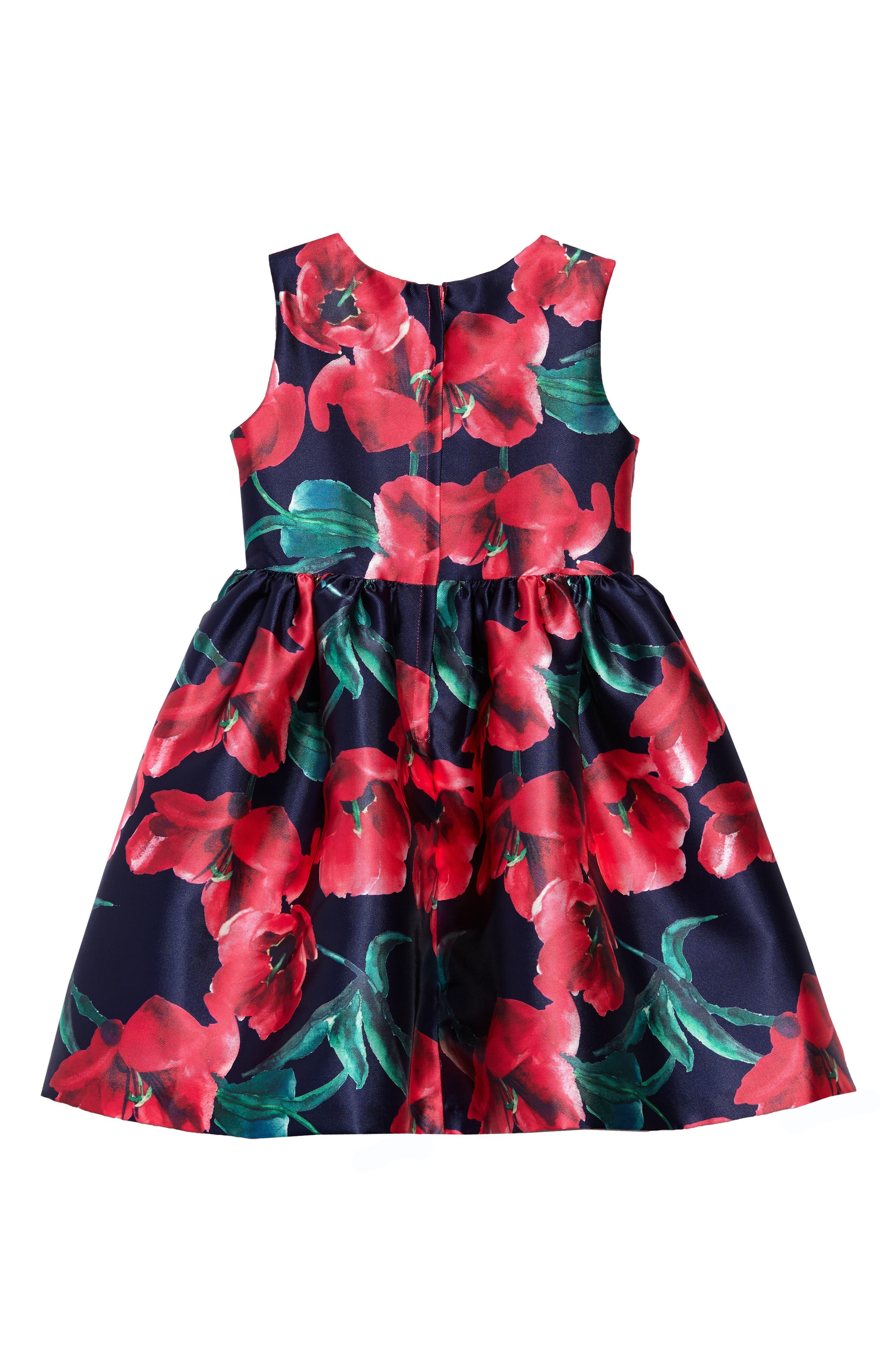 Poppy Party Dress,                             Alternate thumbnail 2, color,                             Navy/ Fuschia